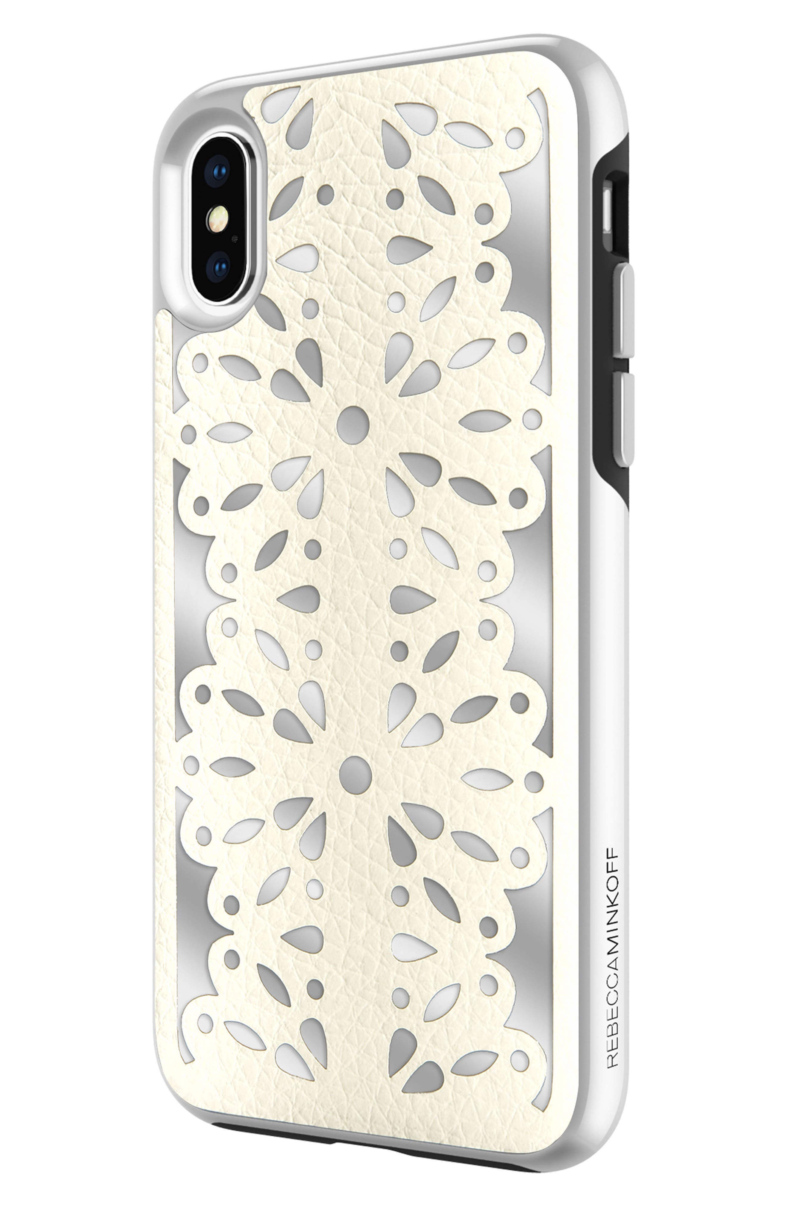Luxury Calls Laser Lace iPhone X Case,                             Alternate thumbnail 4, color,                             Bianco/ Silver