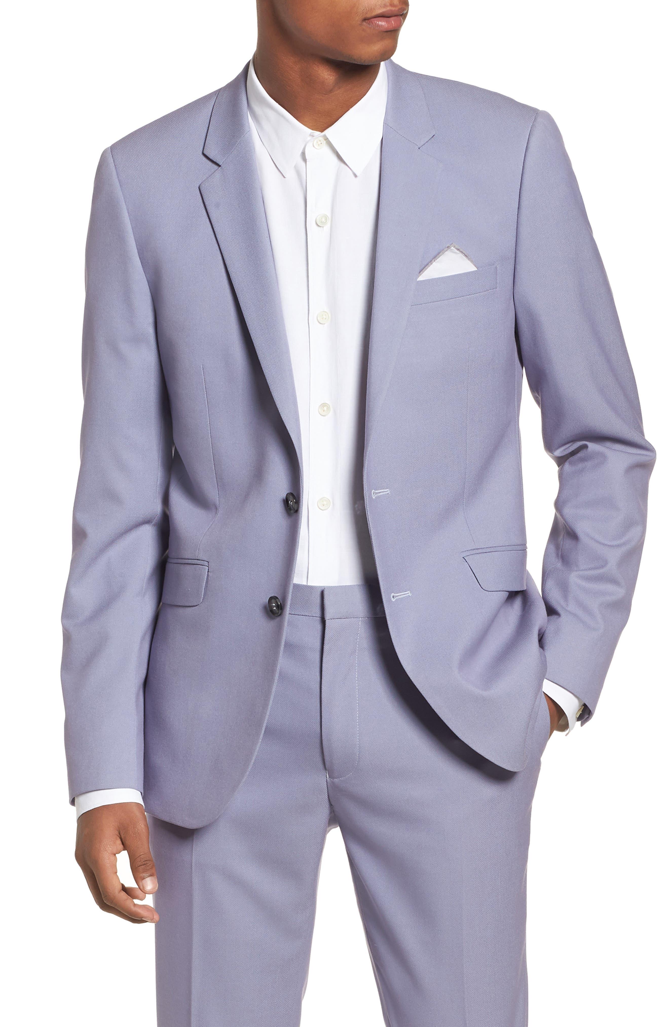 Skinny Fit Suit Jacket,                             Main thumbnail 1, color,                             Purple