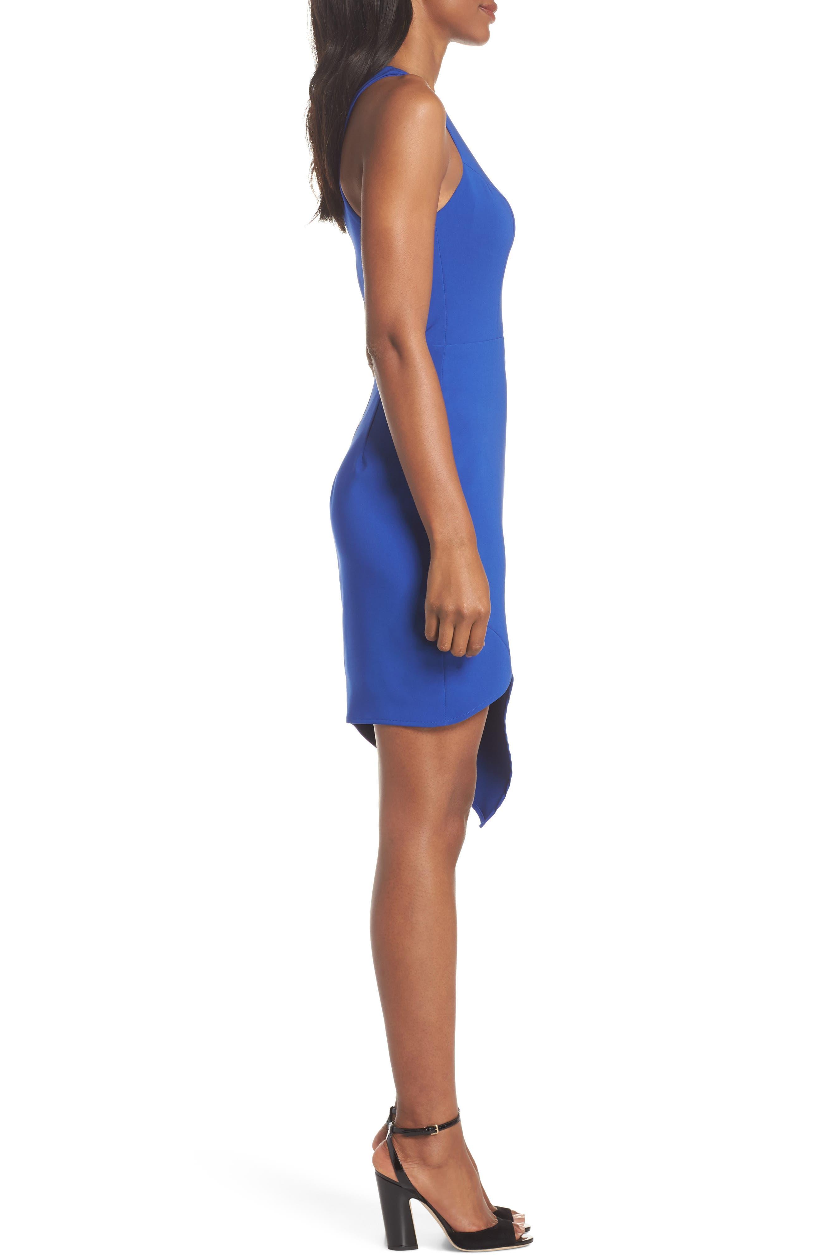 Taylor Racer Cutout Asymmetrical Dress,                             Alternate thumbnail 3, color,                             Cobalt