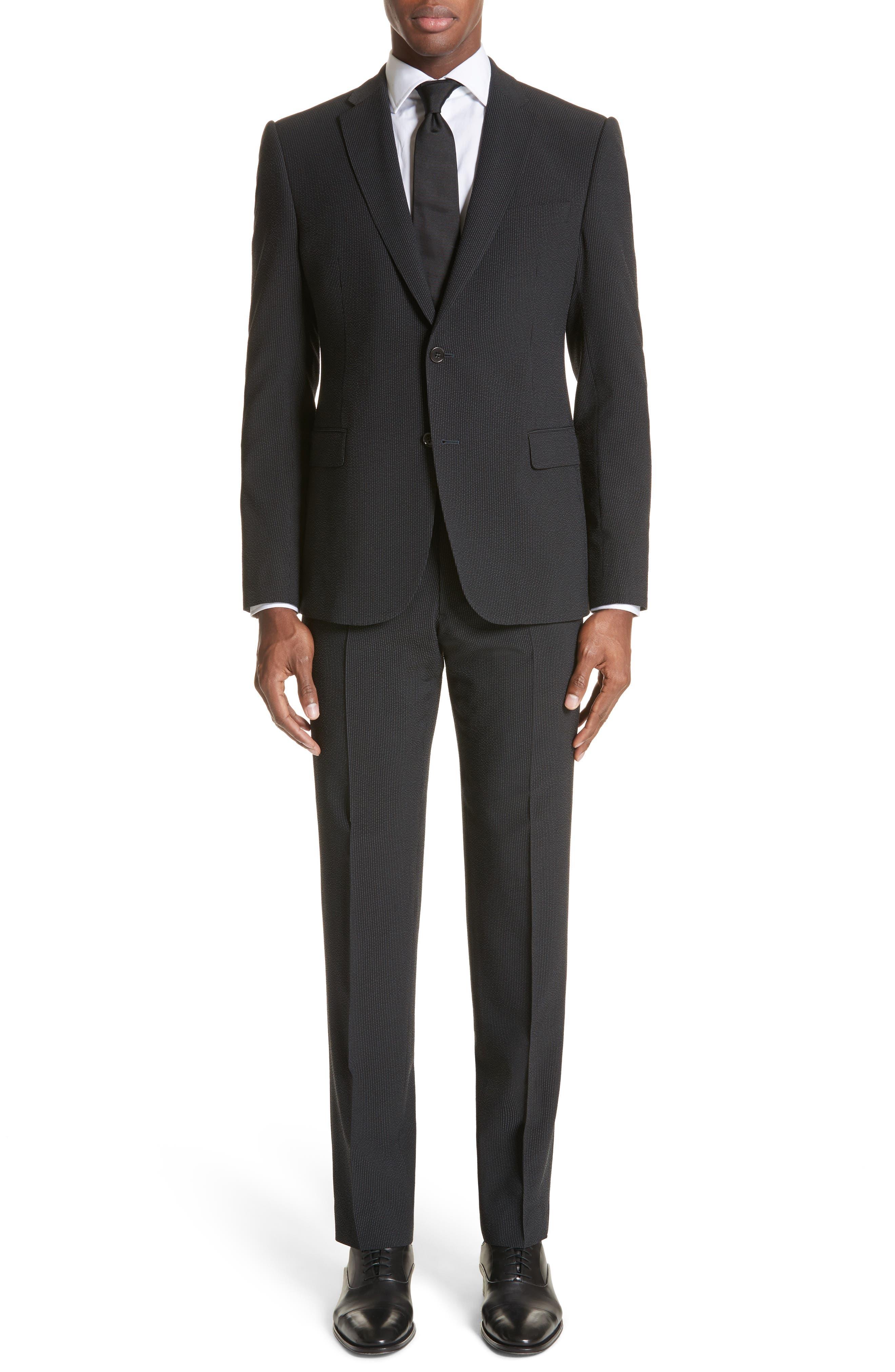M Line Trim Fit Stretch Seersucker Wool Blend Suit,                         Main,                         color, Grey