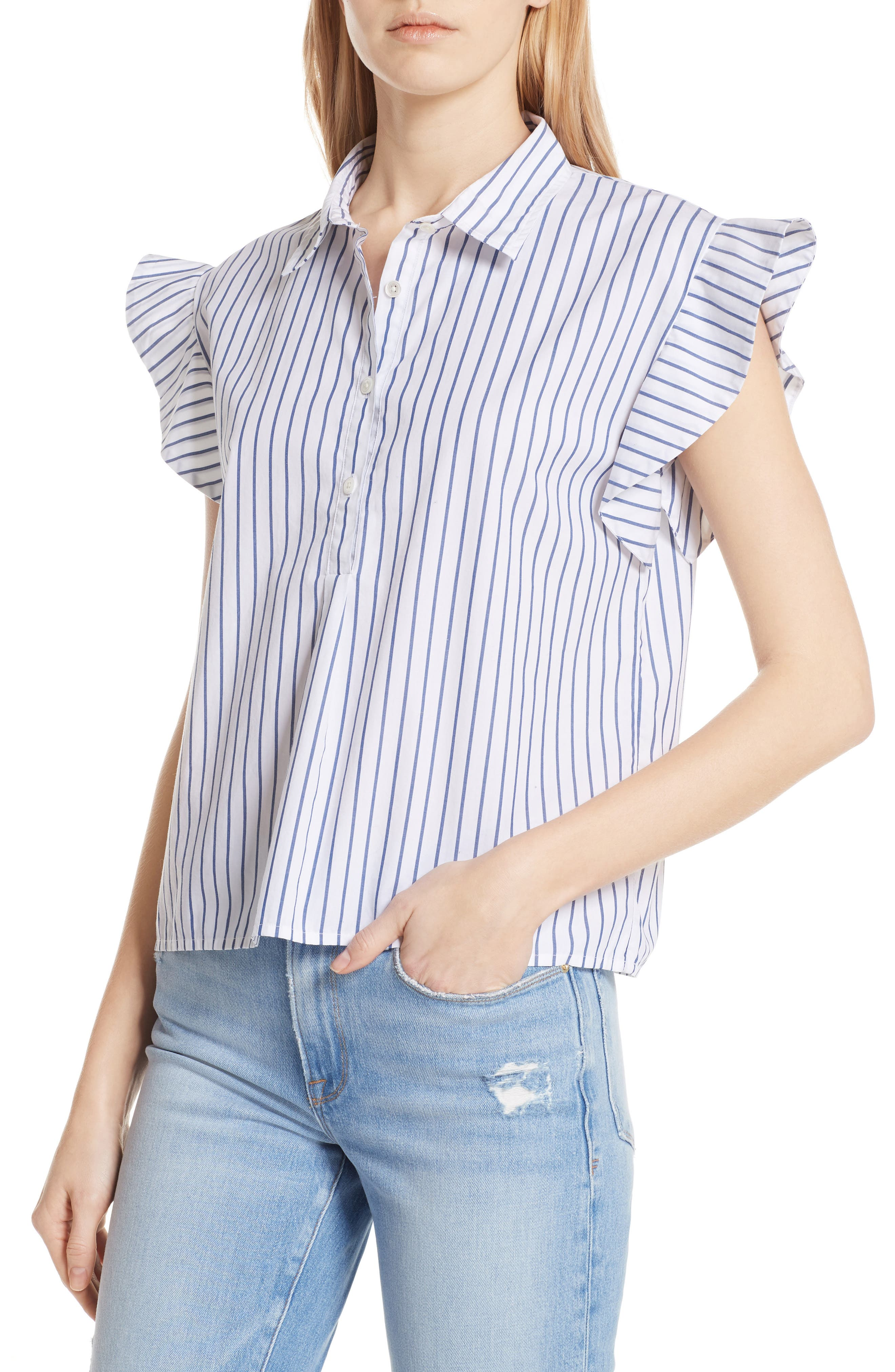 Flutter Sleeve Stripe Shirt,                             Alternate thumbnail 4, color,                             Blanc Multi