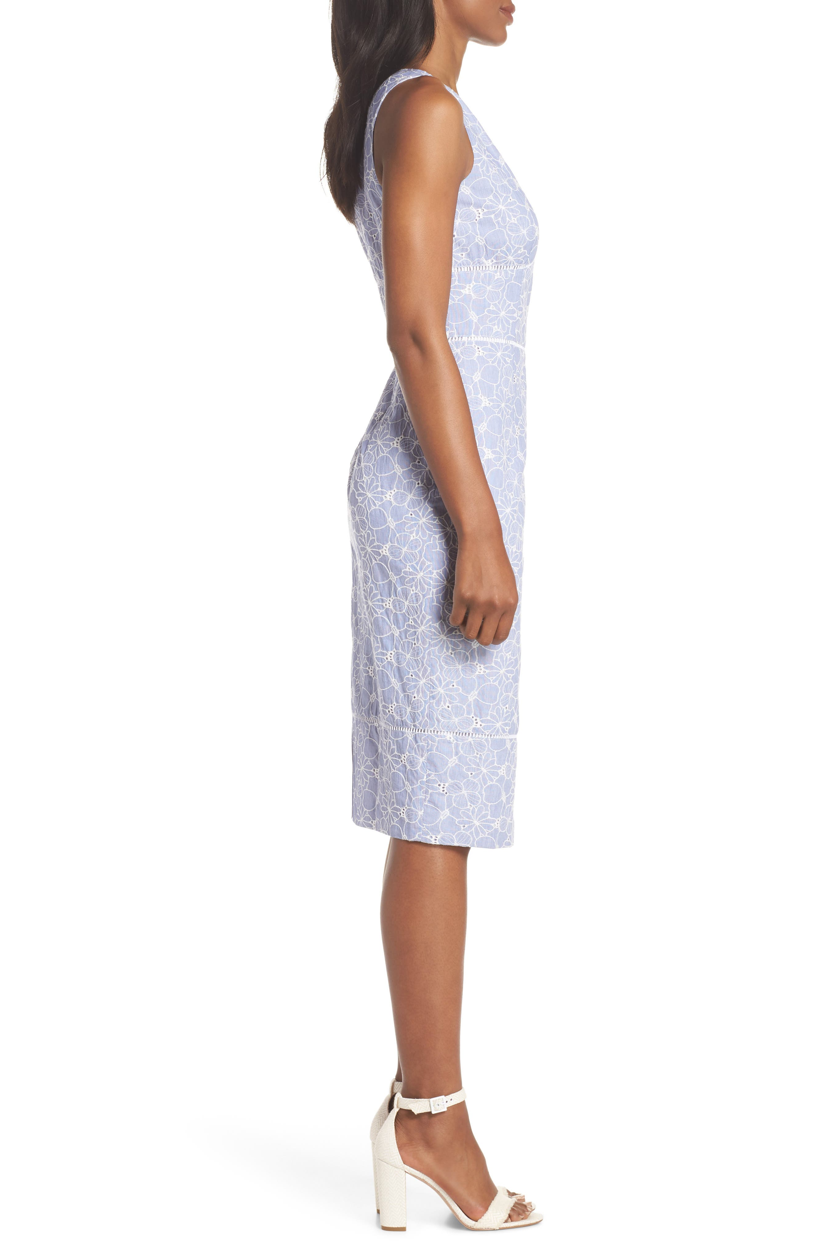 Sleeveless Embroidered Sheath Dress,                             Alternate thumbnail 3, color,                             Blue/ White