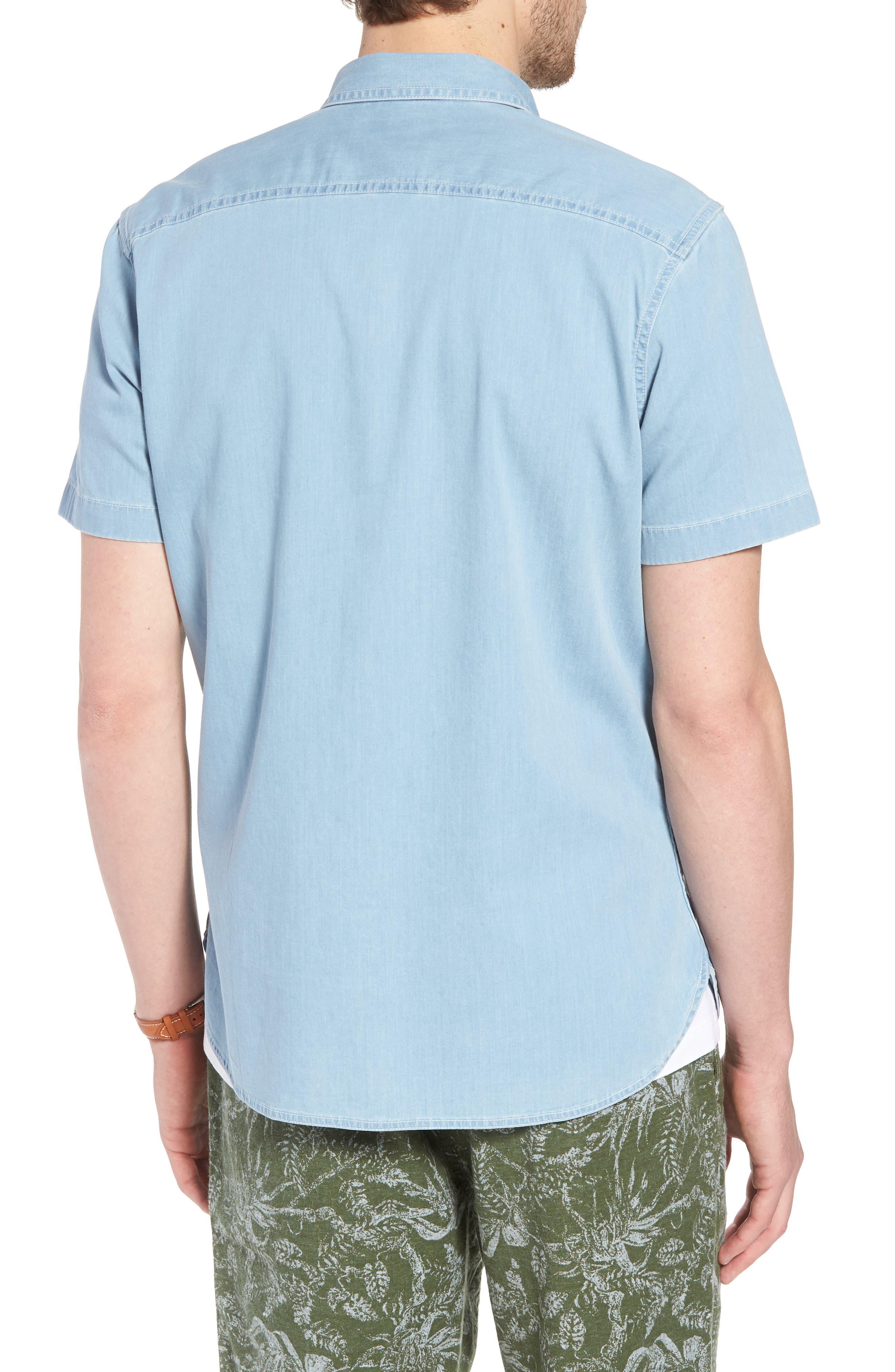 Workwear Trim Fit Stretch Denim Shirt,                             Alternate thumbnail 2, color,                             Blue Light Chambray
