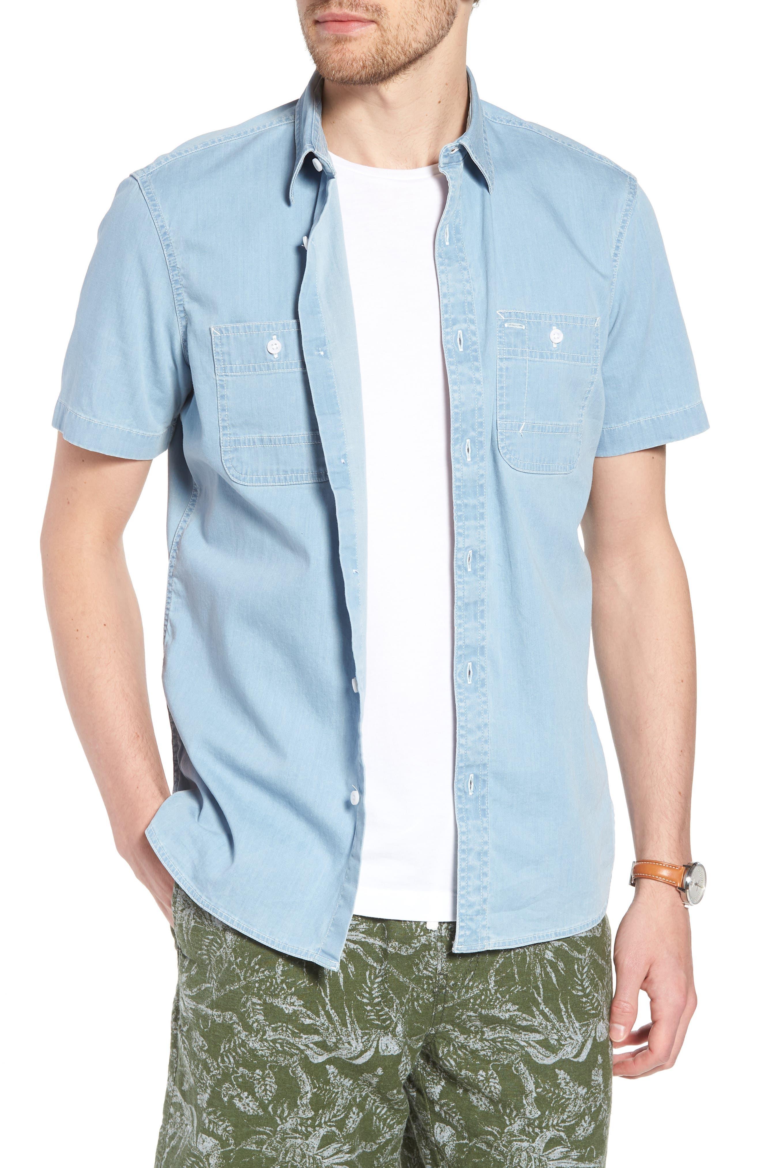 Workwear Trim Fit Stretch Denim Shirt,                             Main thumbnail 1, color,                             Blue Light Chambray