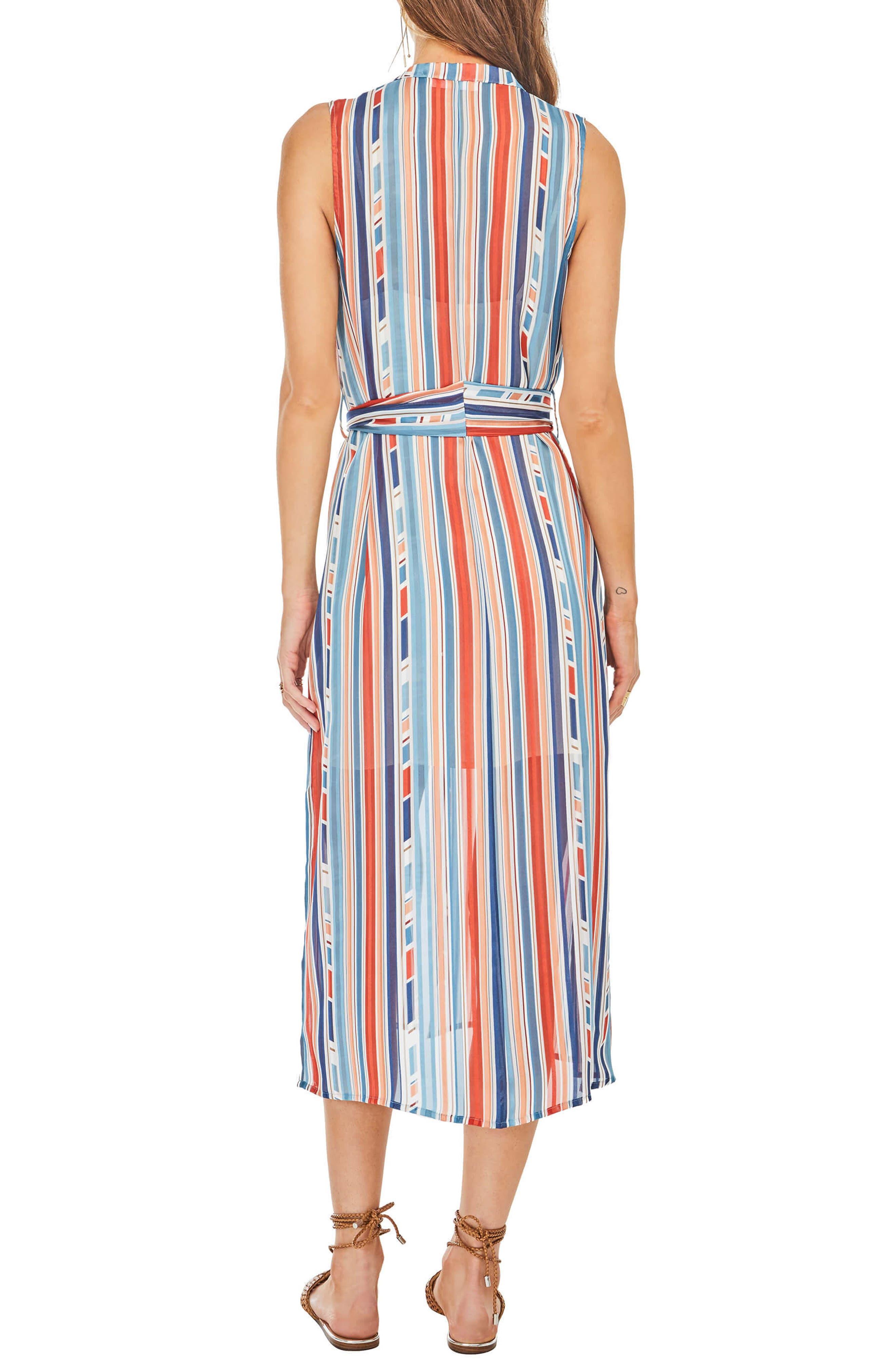 Kendall Midi Shirtdress,                             Alternate thumbnail 2, color,                             Geo Multi Stripe
