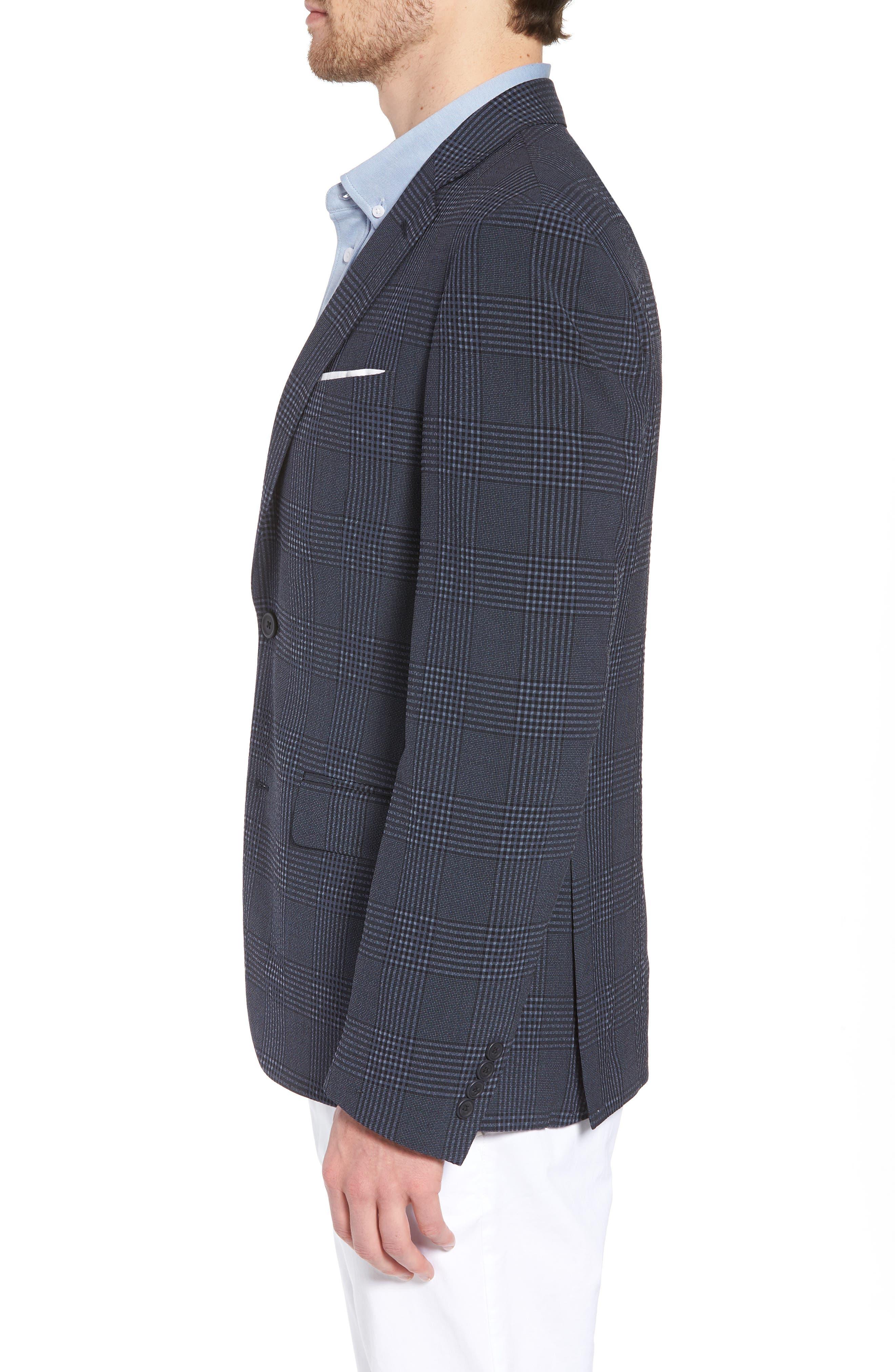 Trim Fit Plaid Wool Blend Sport Coat,                             Alternate thumbnail 3, color,                             Navy