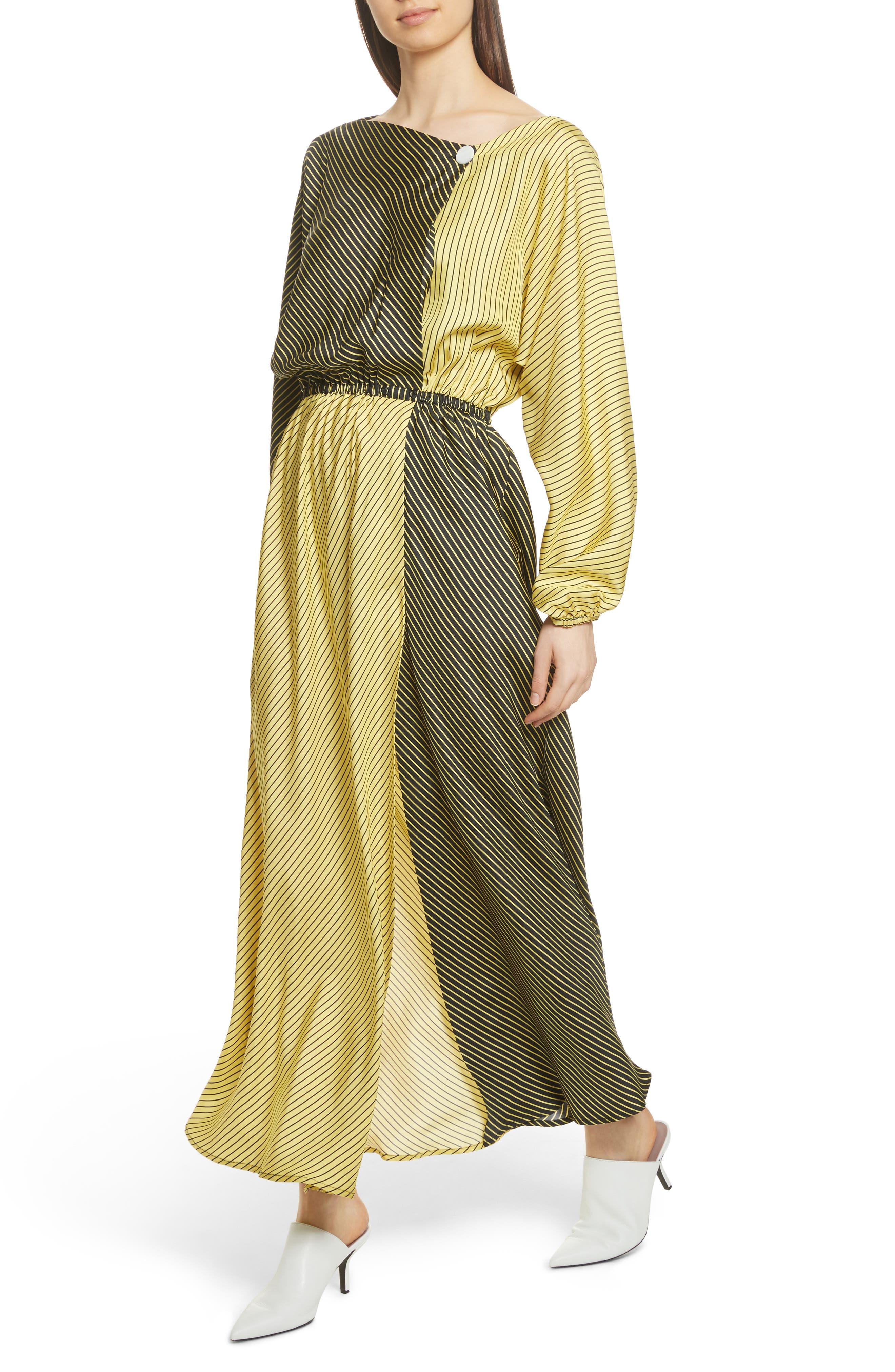 Colorblock Stripe Dress,                             Alternate thumbnail 5, color,                             Black/ Yellow