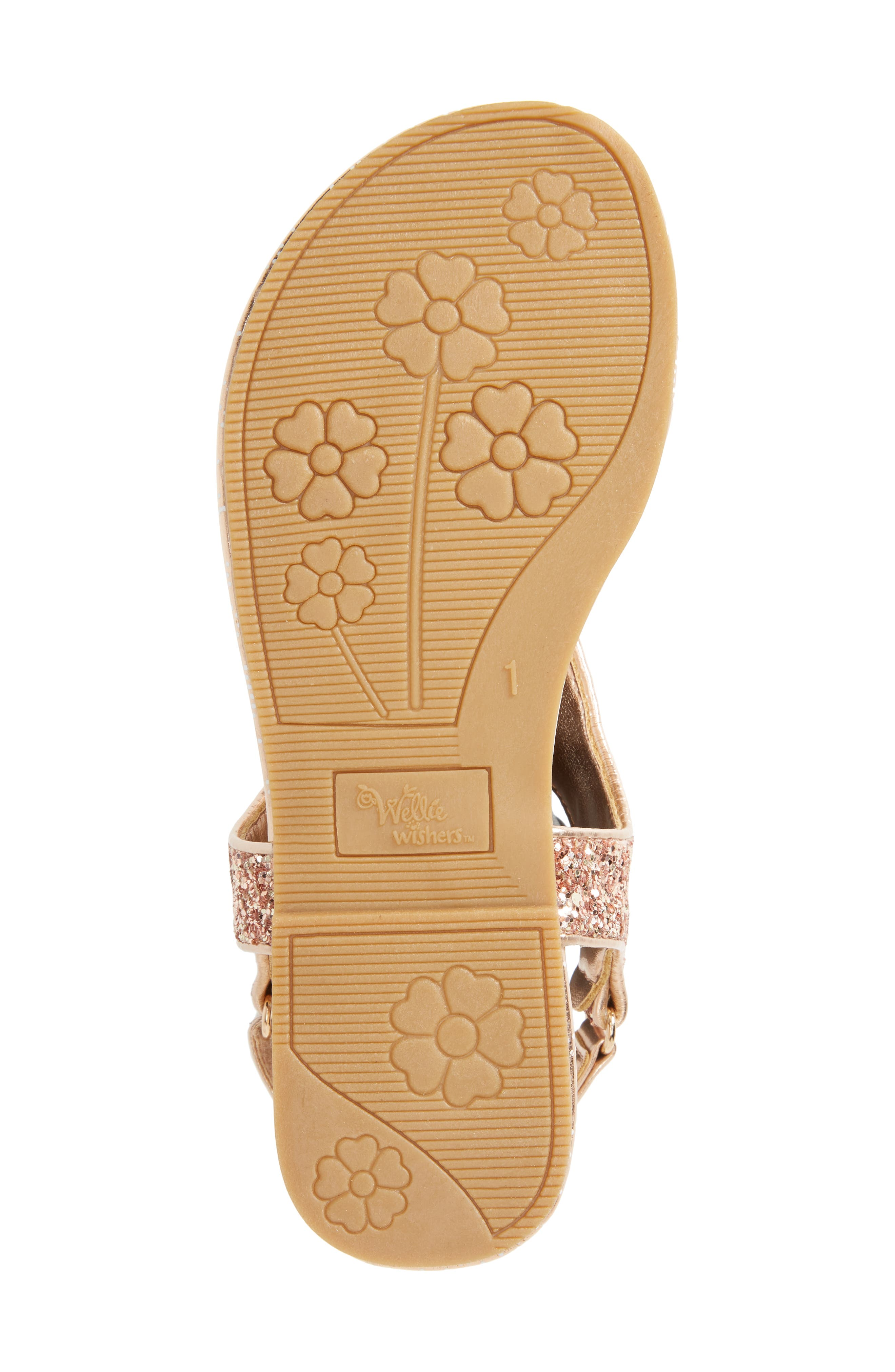 Camille Glitter Thong Sandal,                             Alternate thumbnail 6, color,                             Rose Gold
