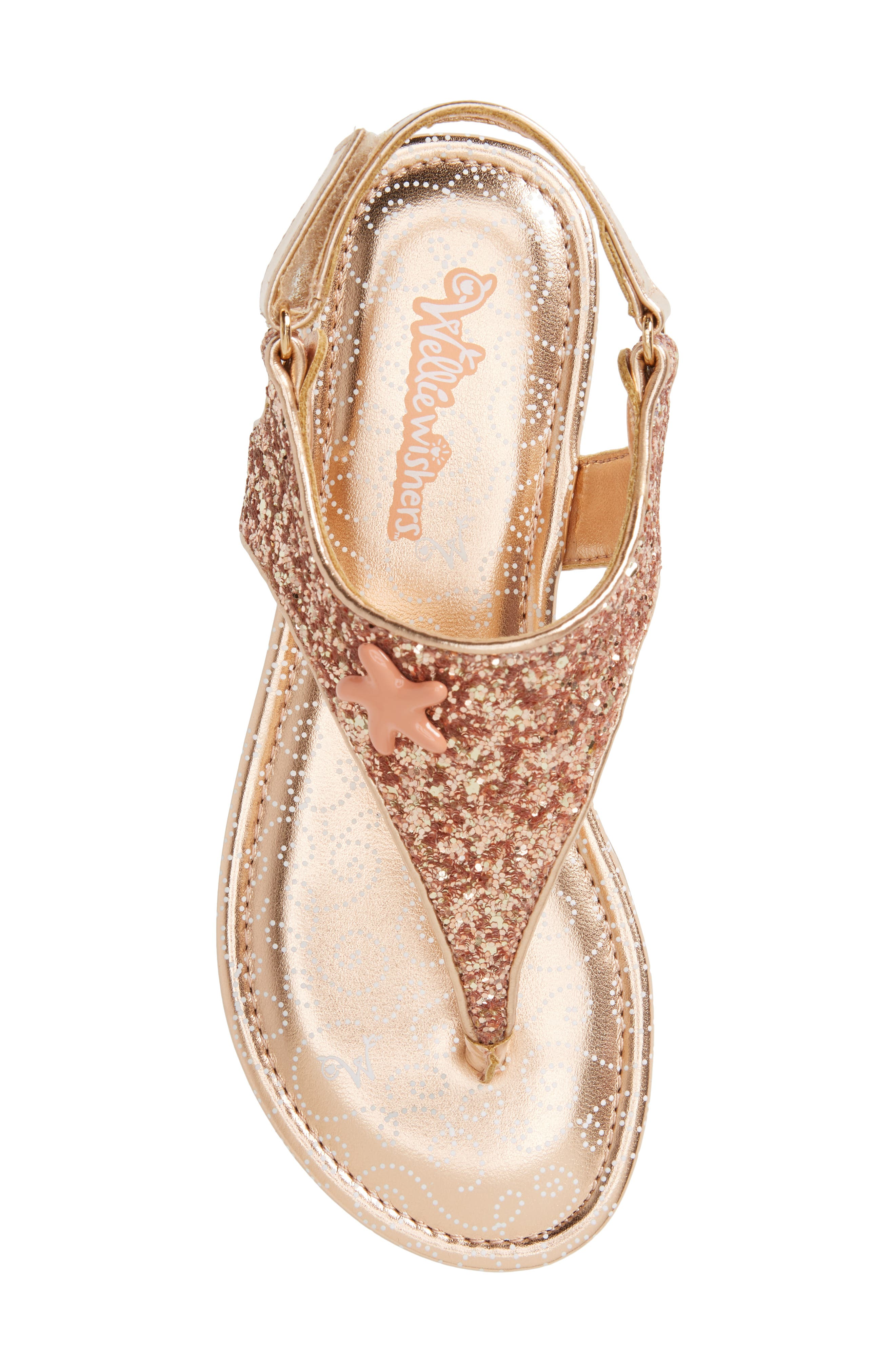 Camille Glitter Thong Sandal,                             Alternate thumbnail 5, color,                             Rose Gold