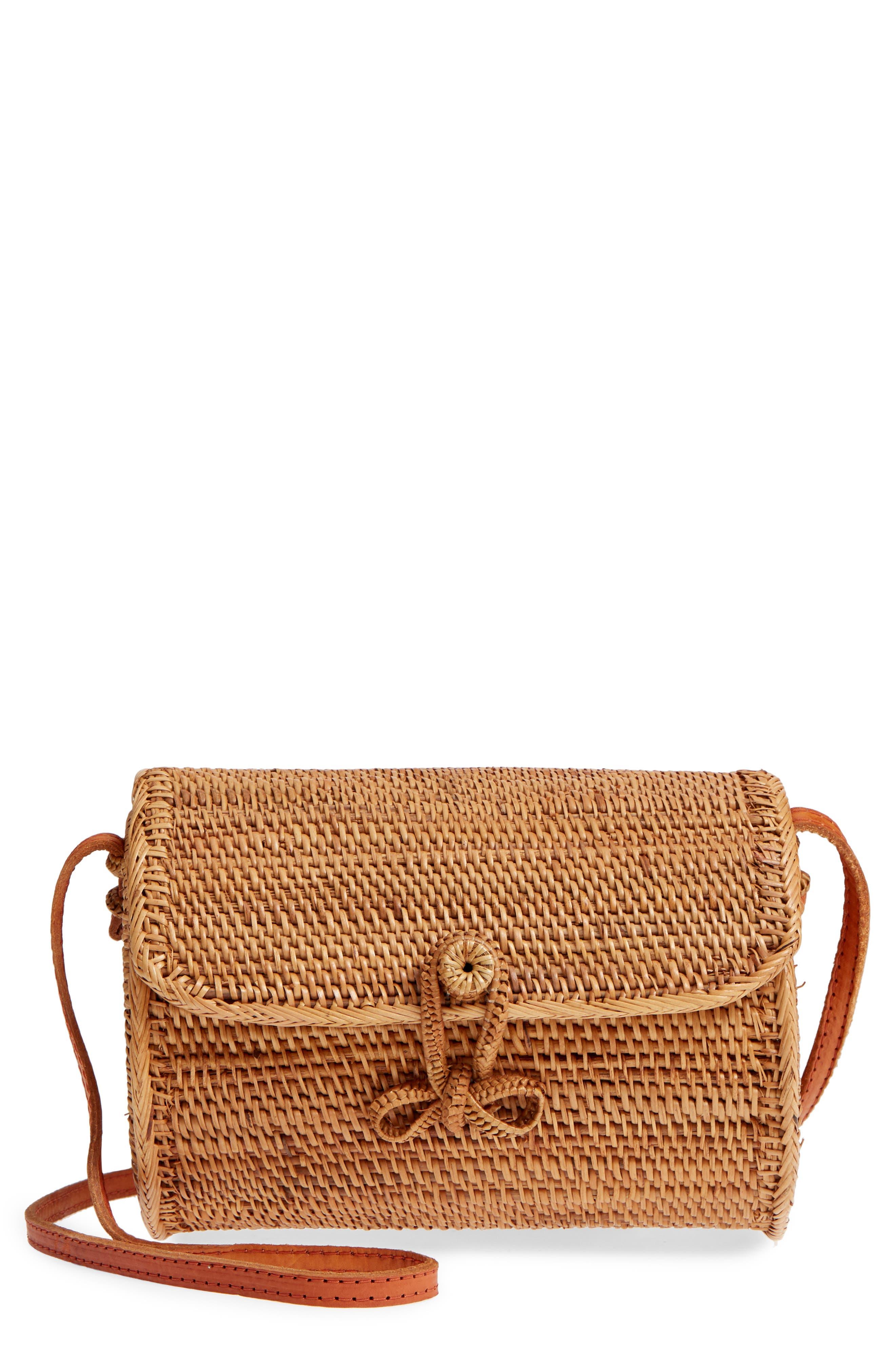 Cylinder Woven Crossbody Bag,                             Main thumbnail 1, color,                             Tan