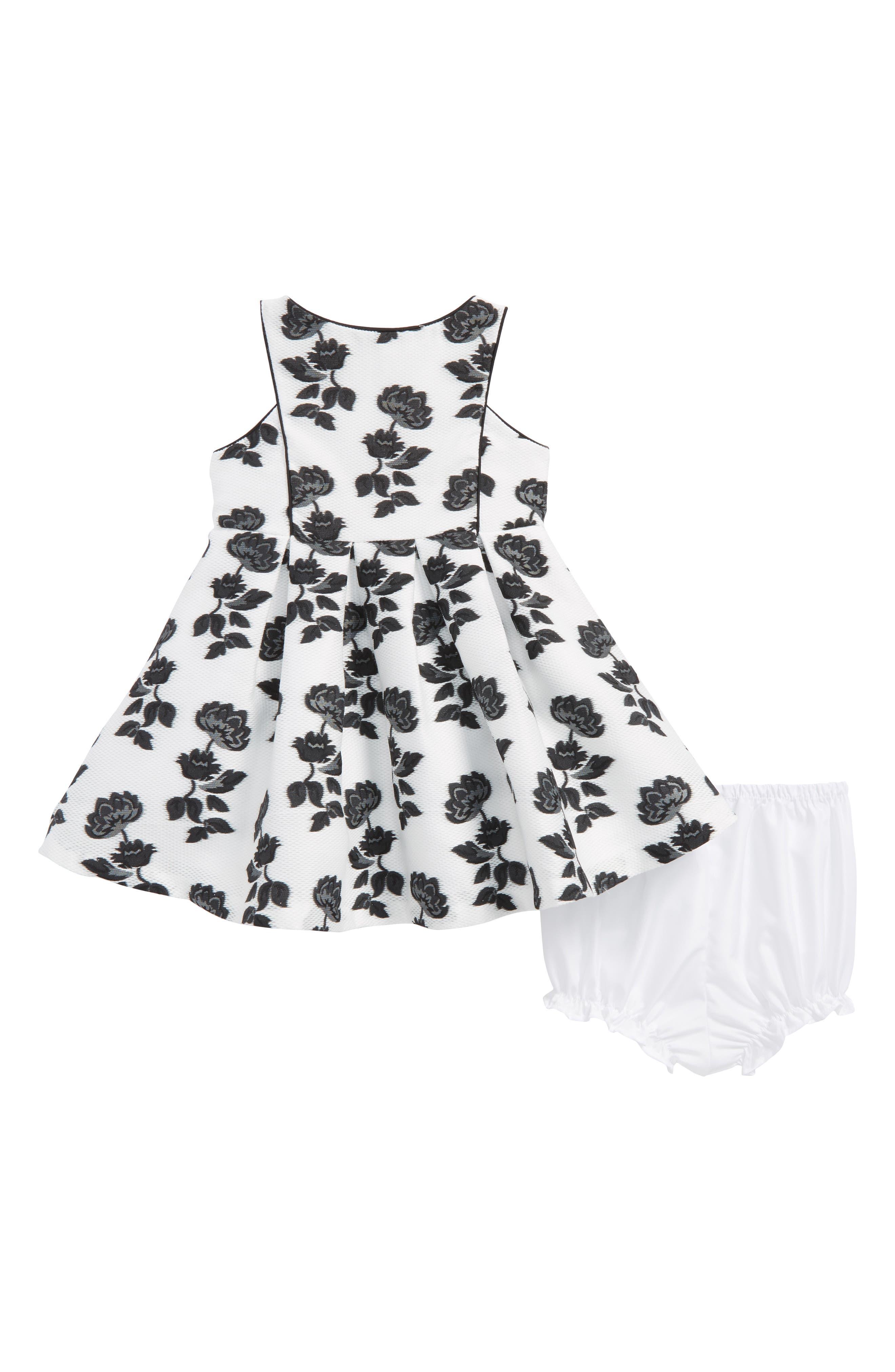 Floral Dress,                         Main,                         color, White/ Black