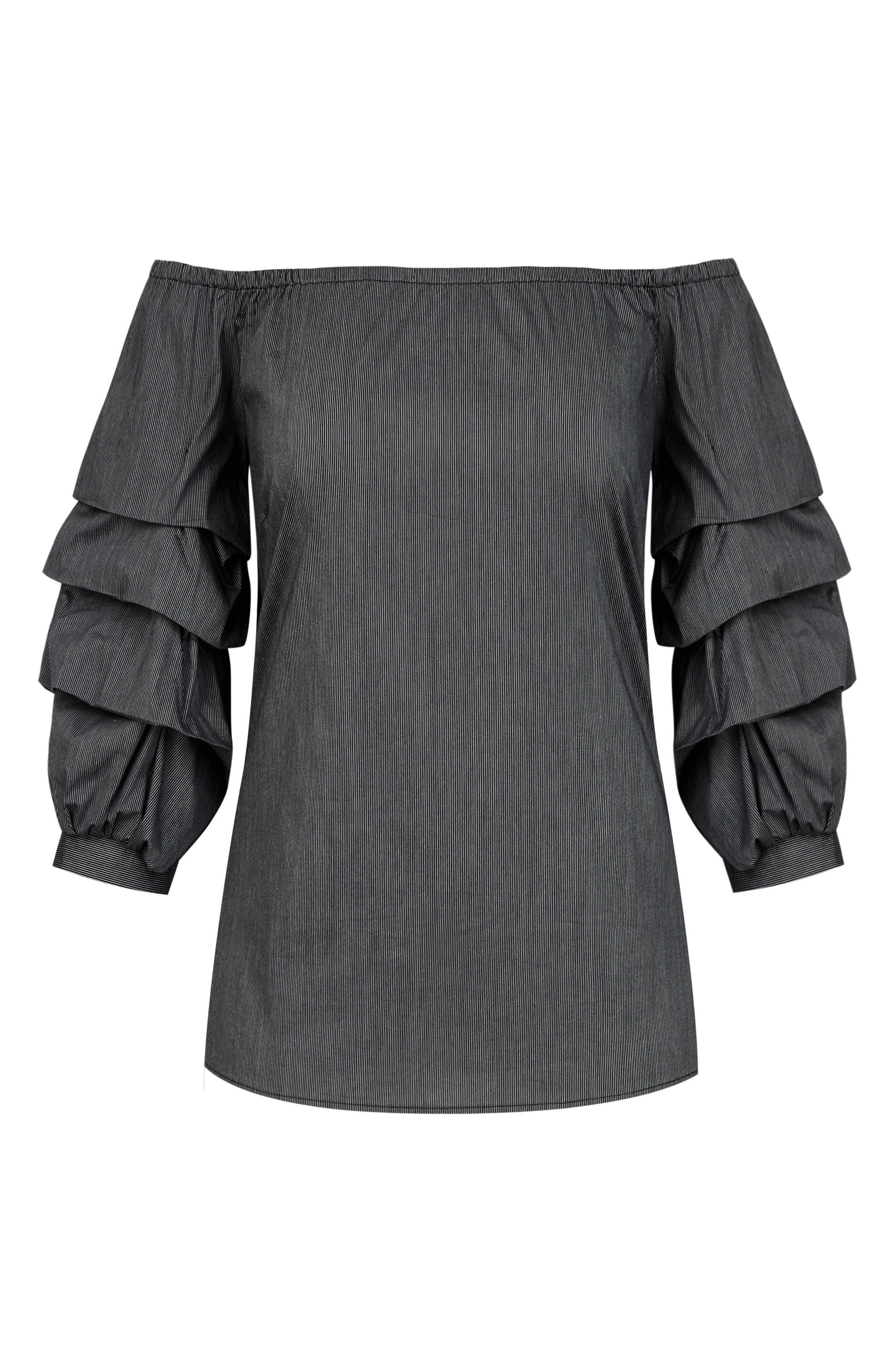 Fancy Sleeve Off the Shoulder Cotton Blend Top,                             Alternate thumbnail 4, color,                             Black Stripe