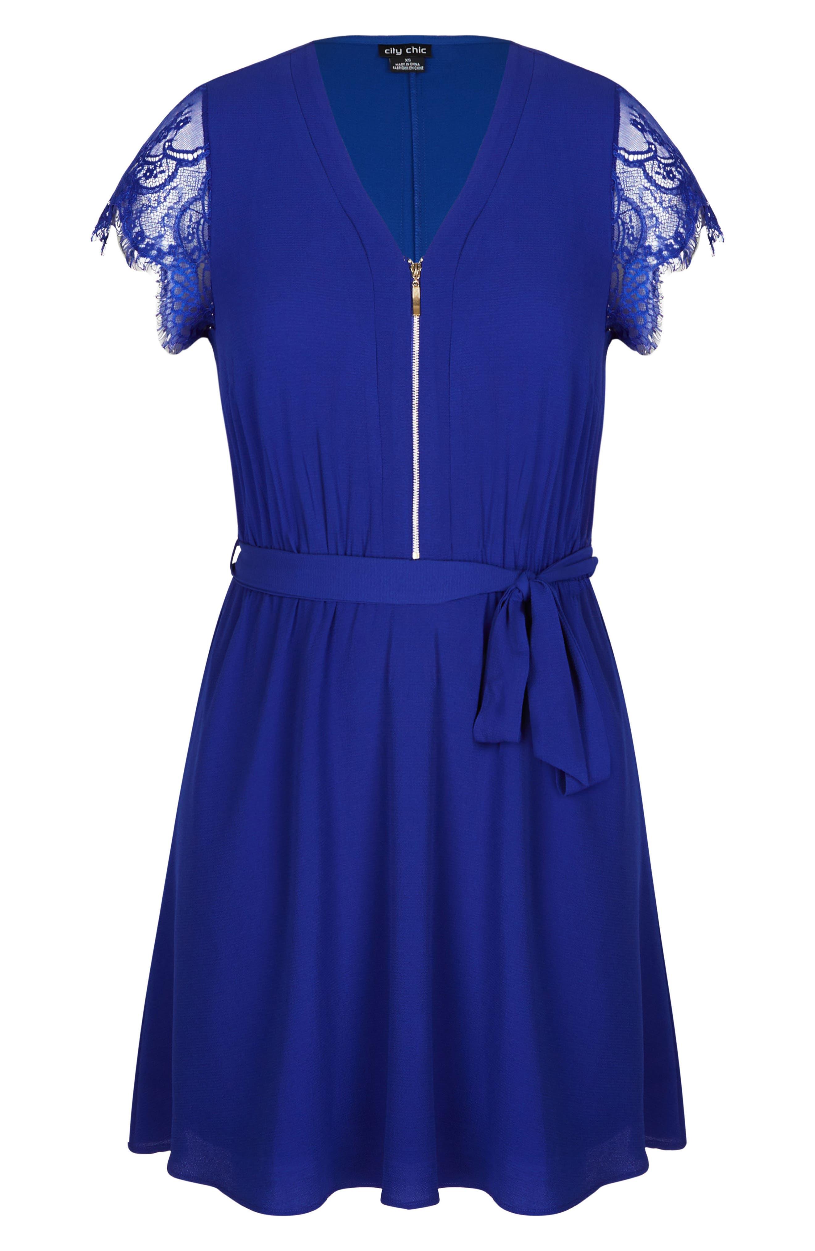 Sweet Zip Front Tunic Dress,                             Alternate thumbnail 3, color,                             Lapis