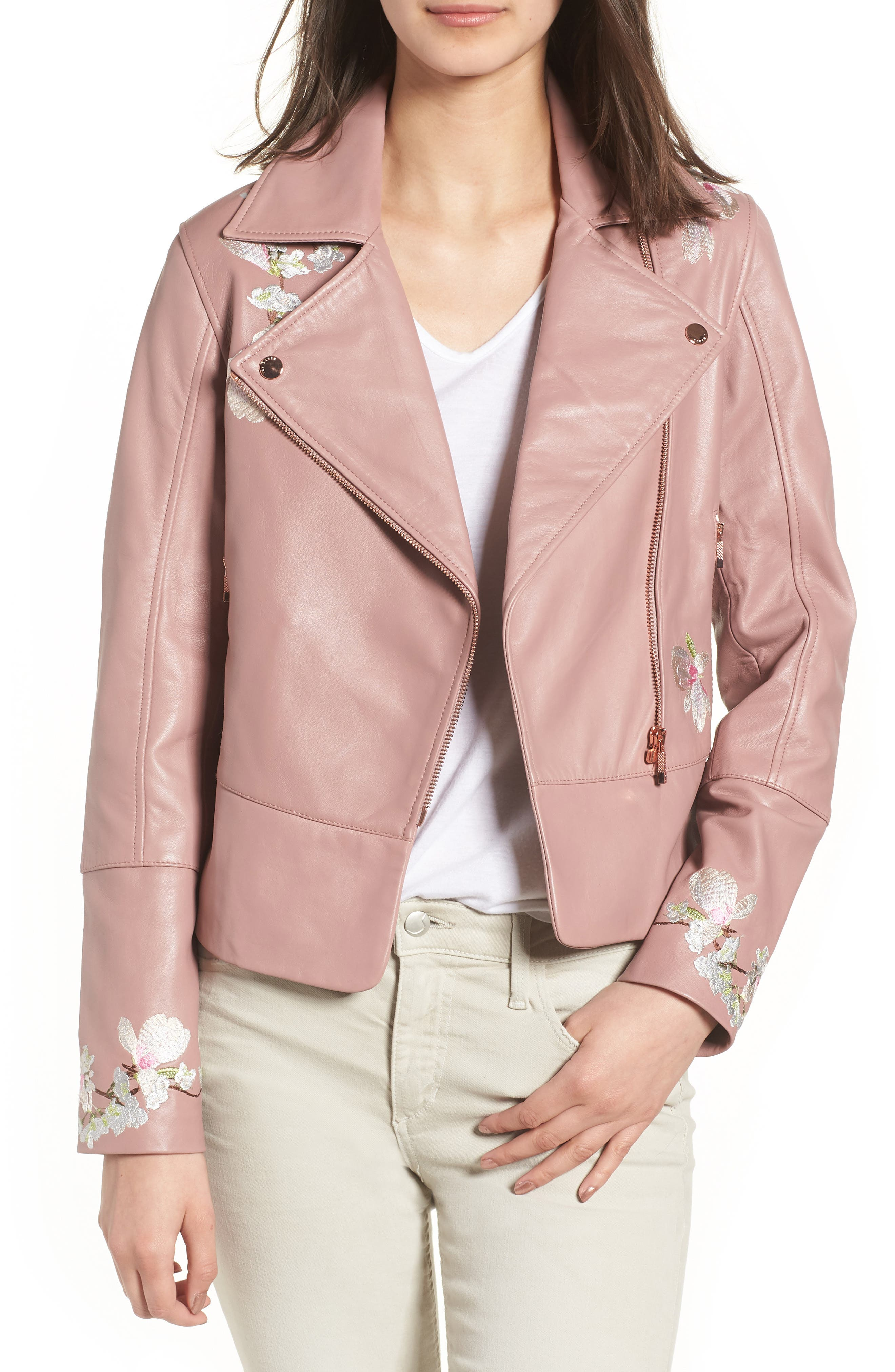 Harmony Embroidered Leather Biker Jacket,                             Main thumbnail 1, color,                             Dusky Pink