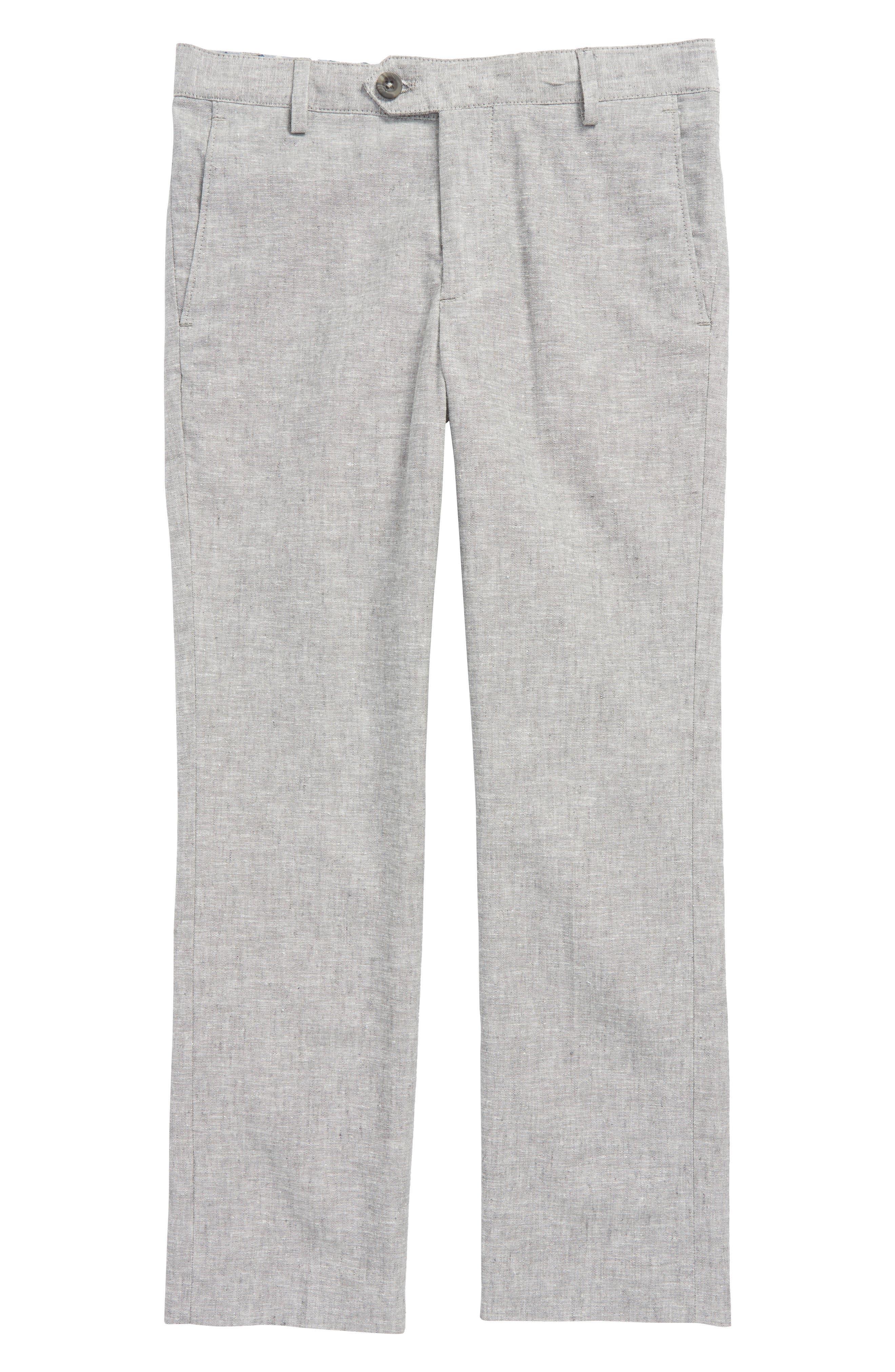 Elliott Flat Front Linen & Cotton Trousers,                             Main thumbnail 1, color,                             Grey Linen
