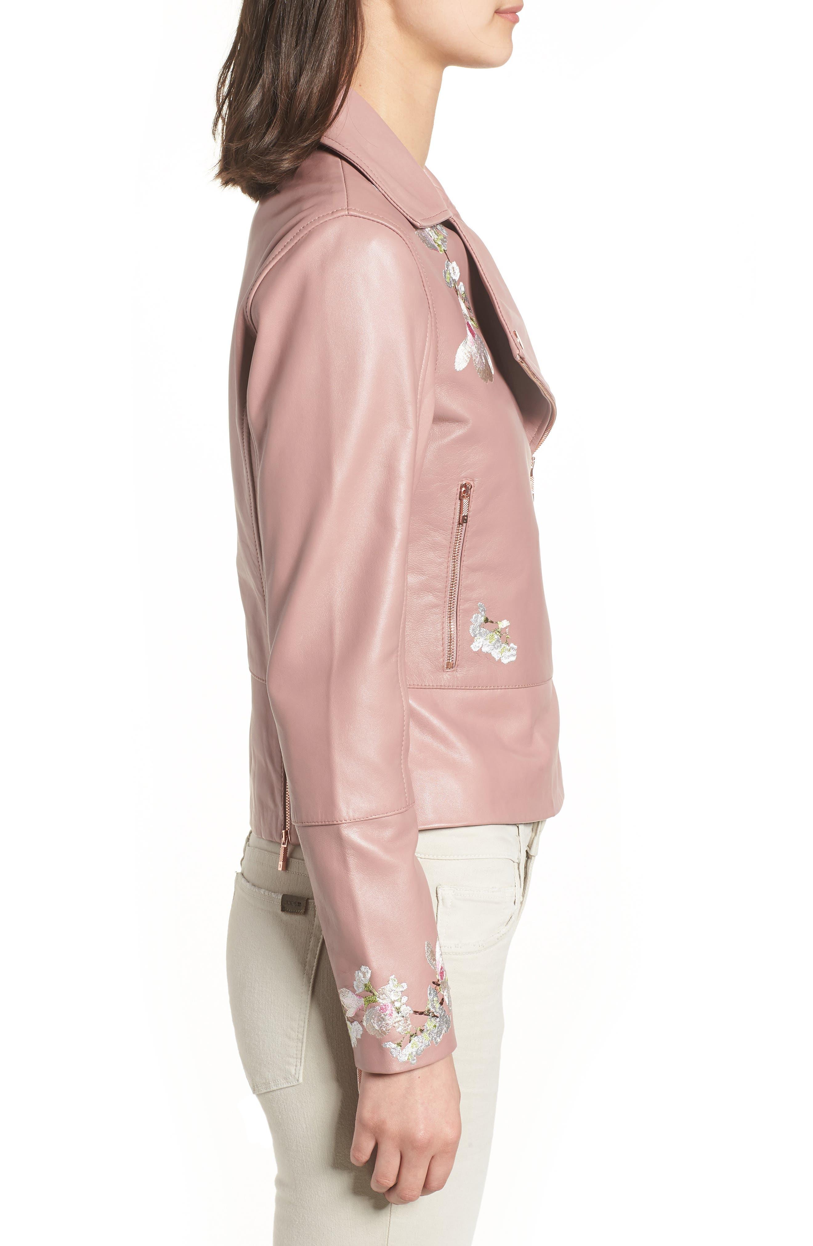 Harmony Embroidered Leather Biker Jacket,                             Alternate thumbnail 3, color,                             Dusky Pink