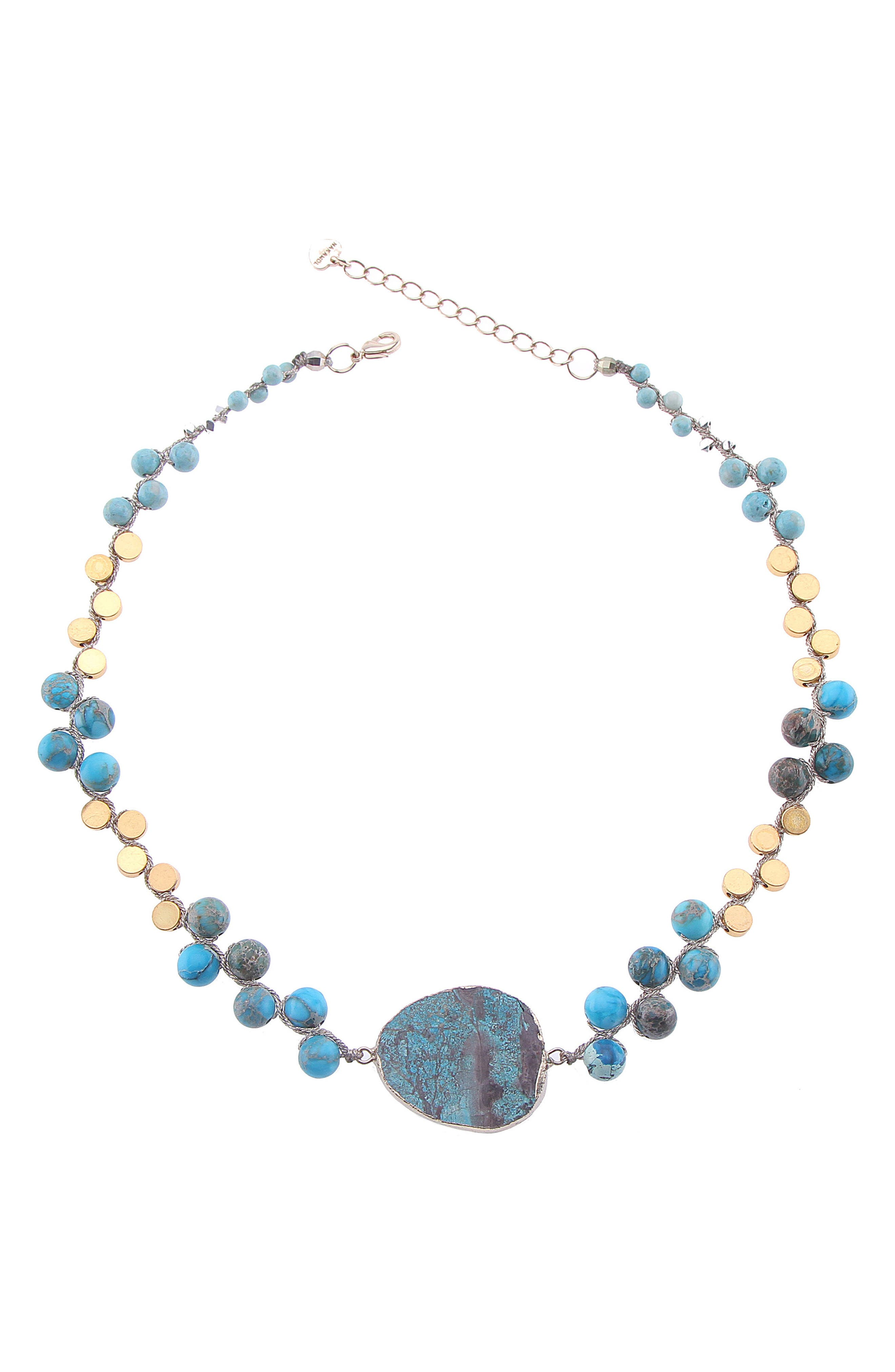 Orchids Necklace,                         Main,                         color, Turquoise