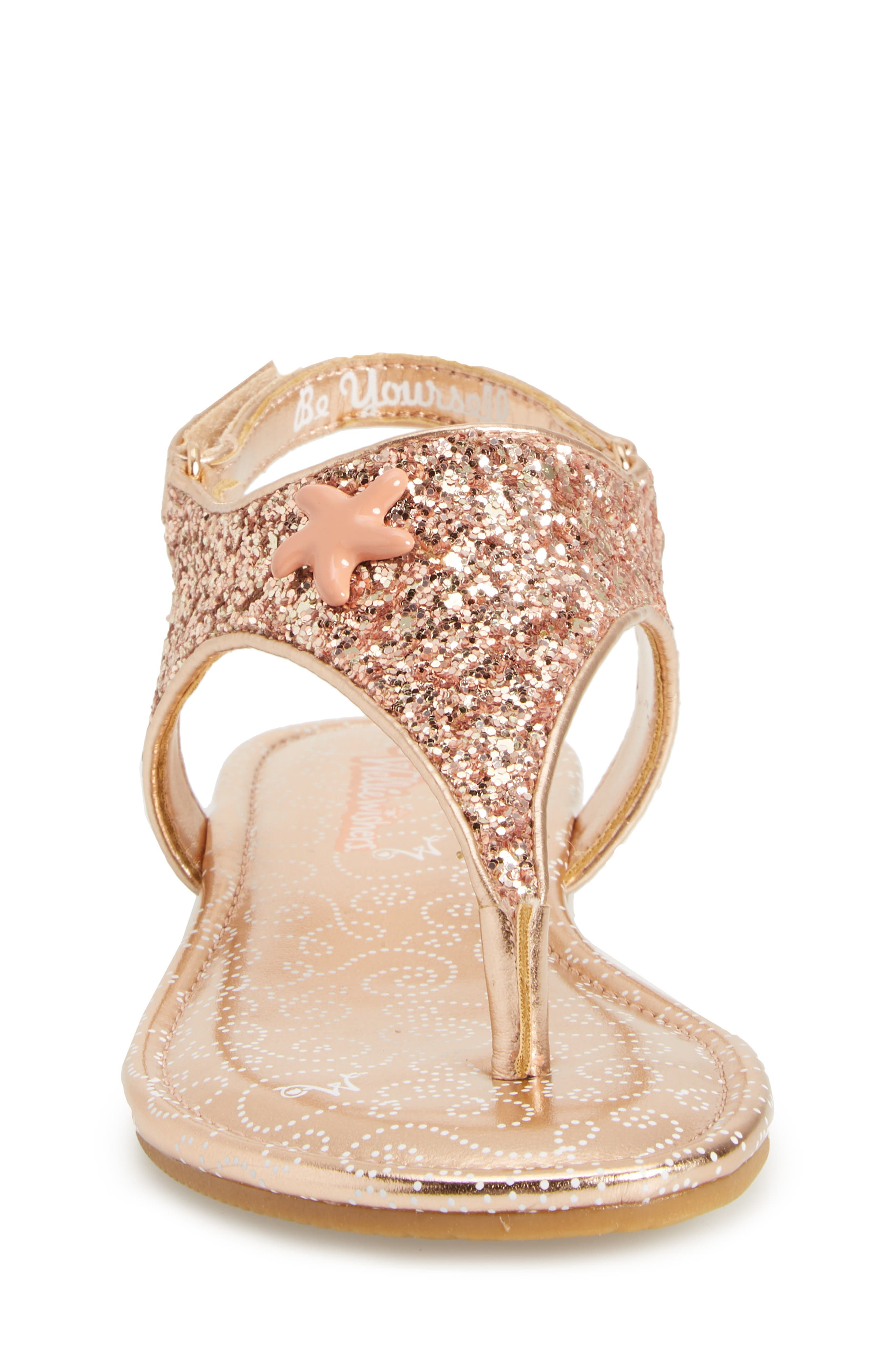 Camille Glitter Thong Sandal,                             Alternate thumbnail 4, color,                             Rose Gold