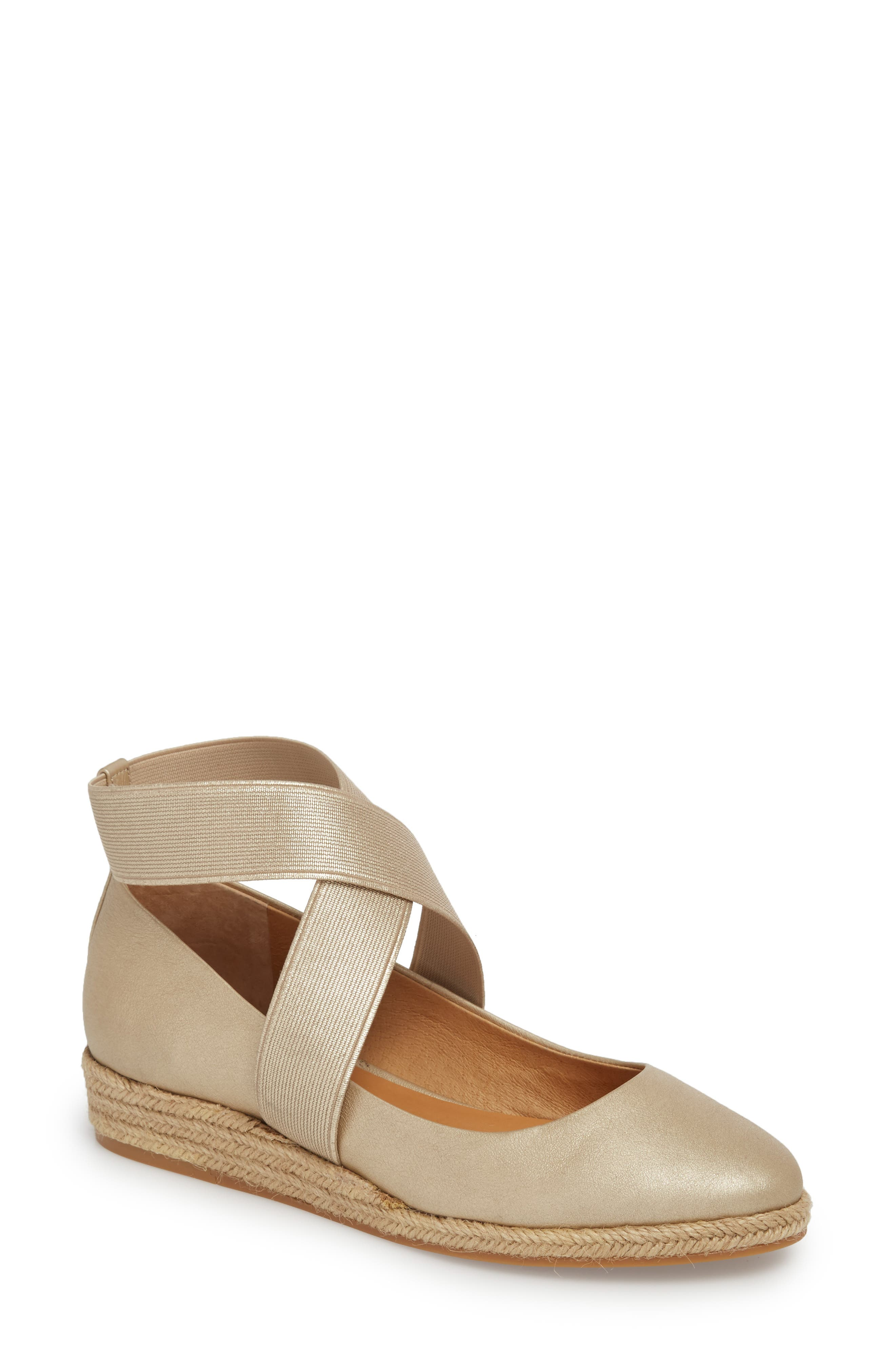 Bellah Espadrille Wedge,                             Main thumbnail 1, color,                             Soft Gold Leather