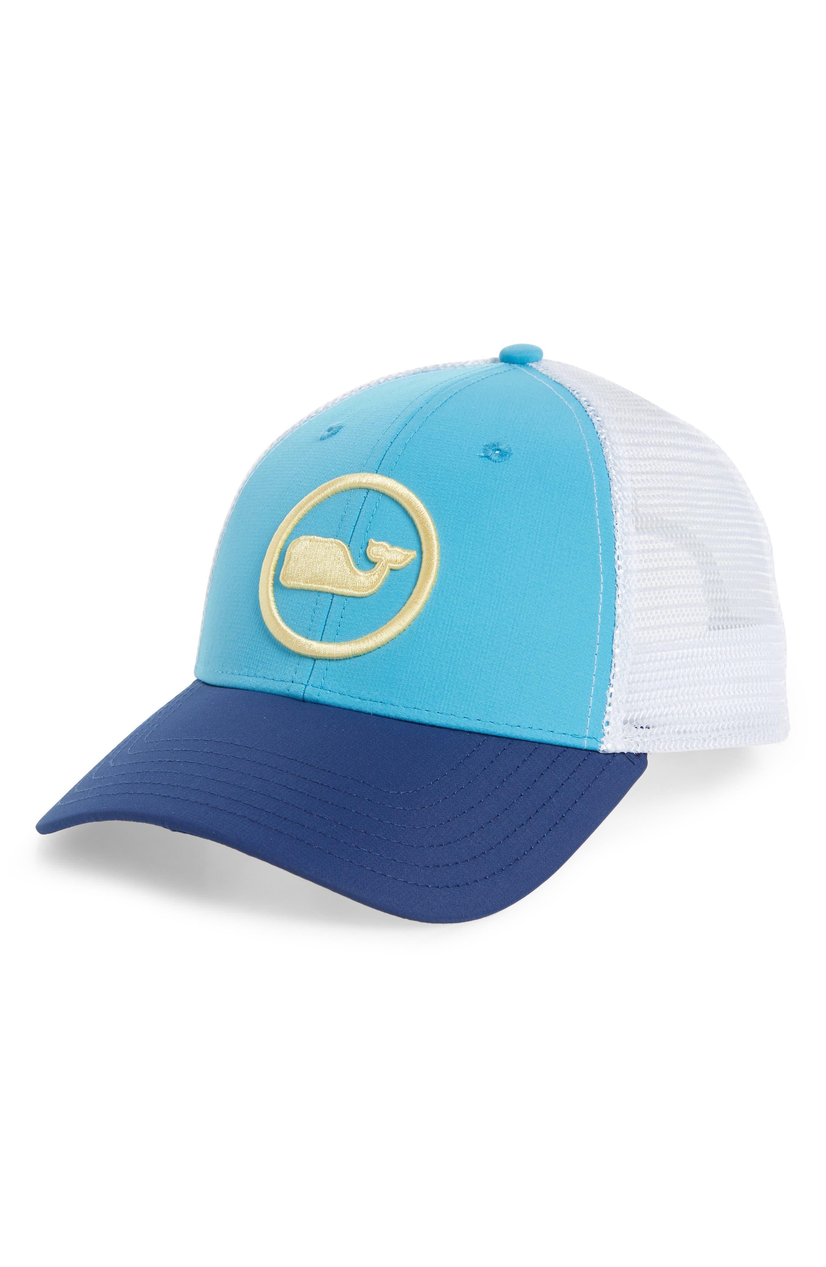 Whale Dot Trucker Cap,                         Main,                         color, Antigua Blue