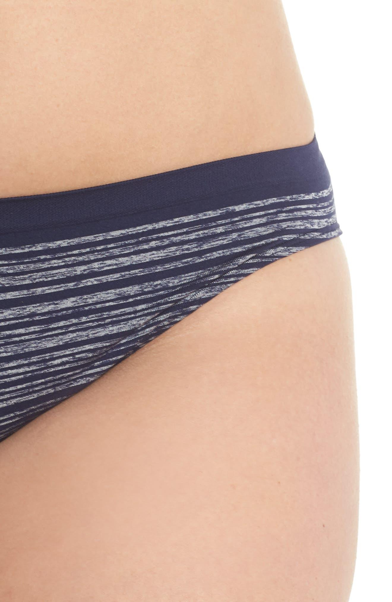 Seamless Bikini,                             Alternate thumbnail 4, color,                             Navy Peacoat Heather Stripe