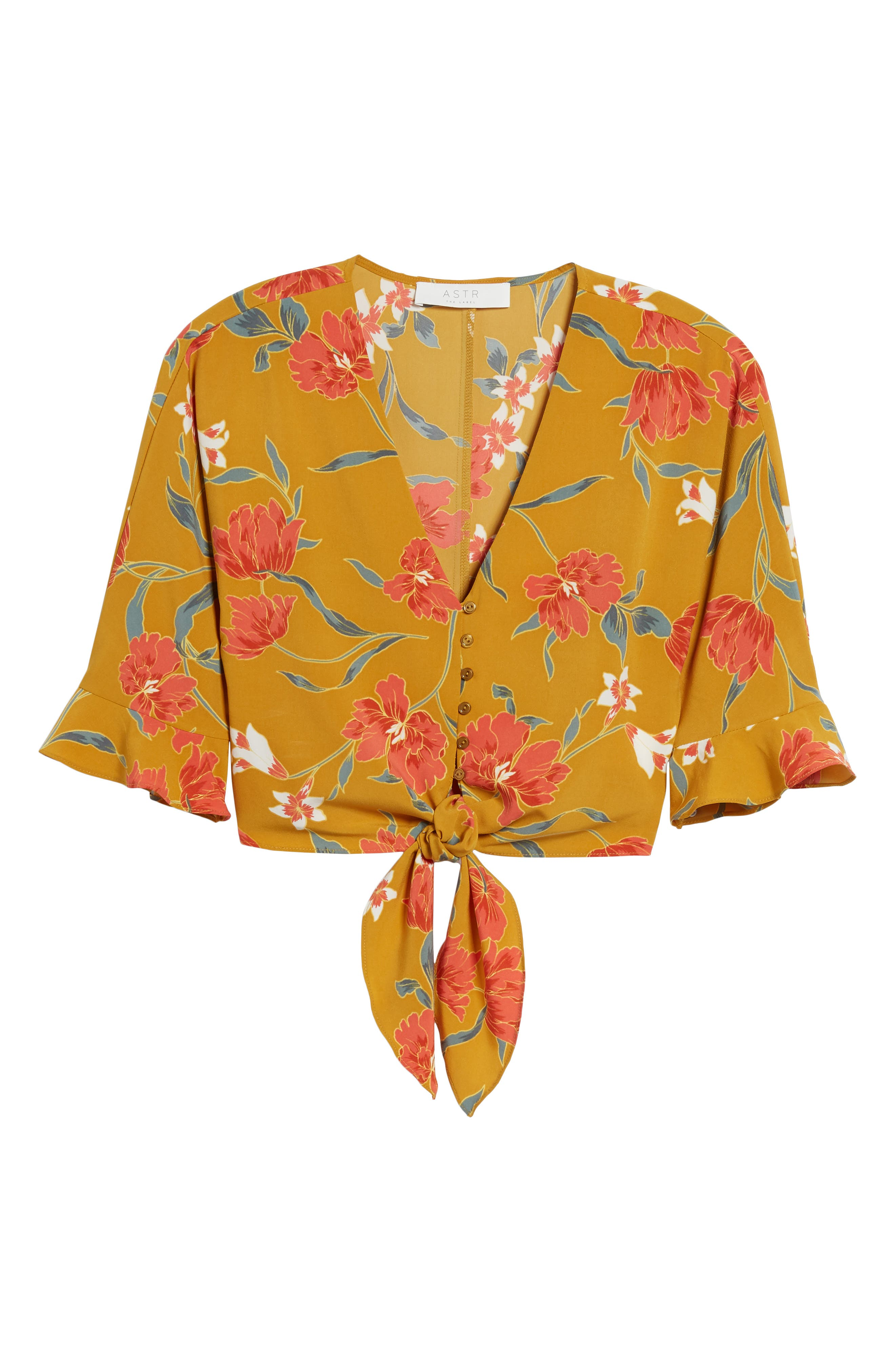 Tie Front Crop Top,                             Alternate thumbnail 7, color,                             Mustard Multi Floral