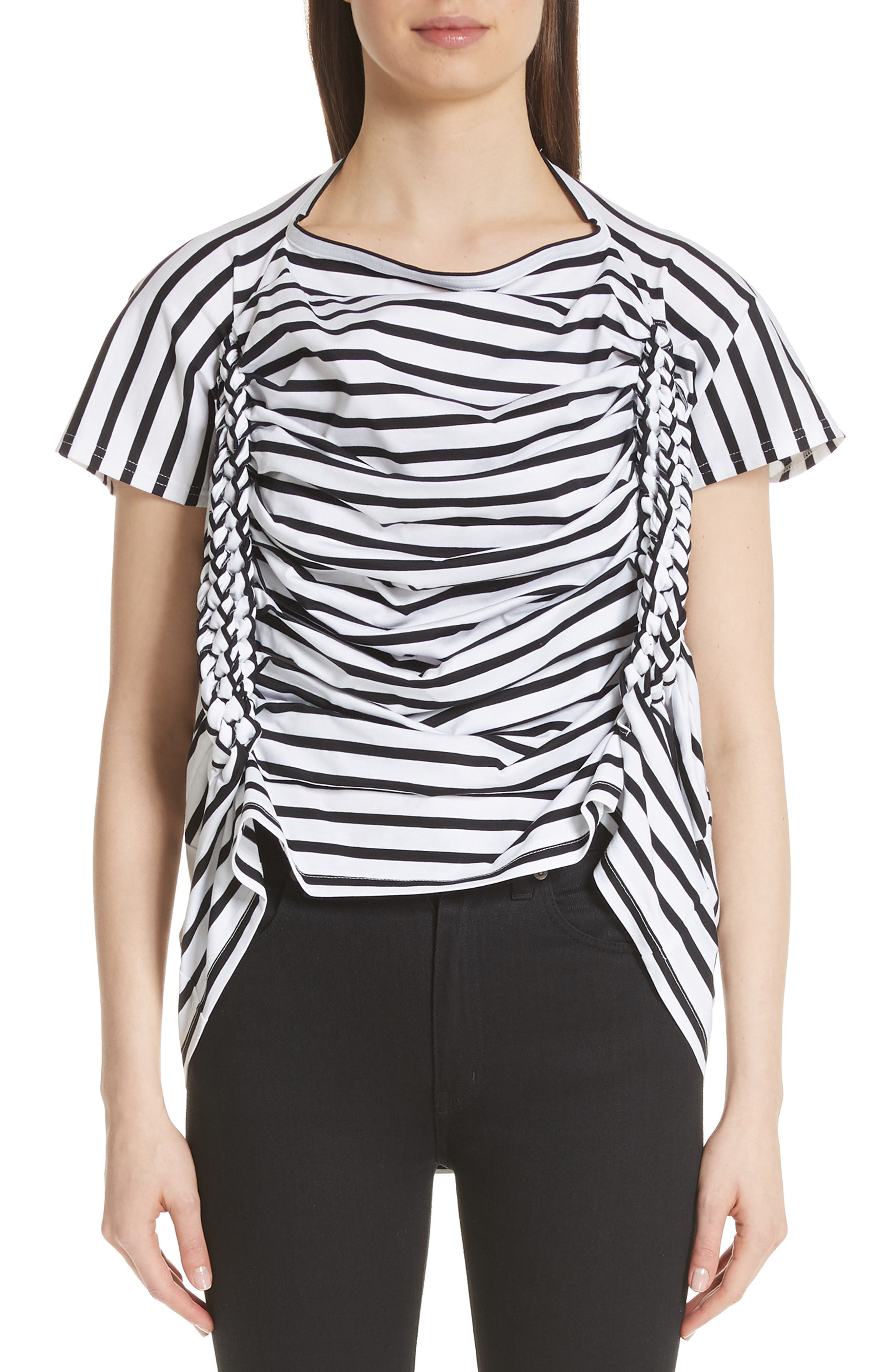 Braided Side Stripe Tee,                             Main thumbnail 1, color,                             White/ Black