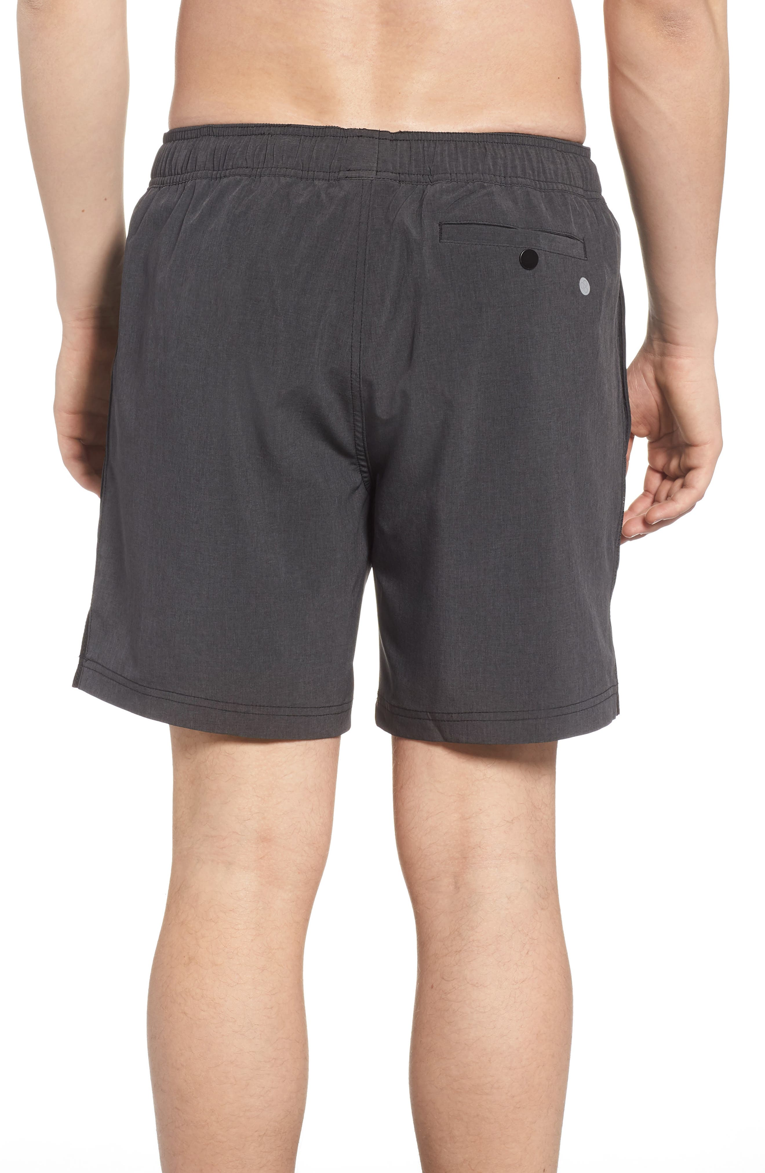 Stretch Swim Trunks,                             Alternate thumbnail 2, color,                             Black Oxide Heather