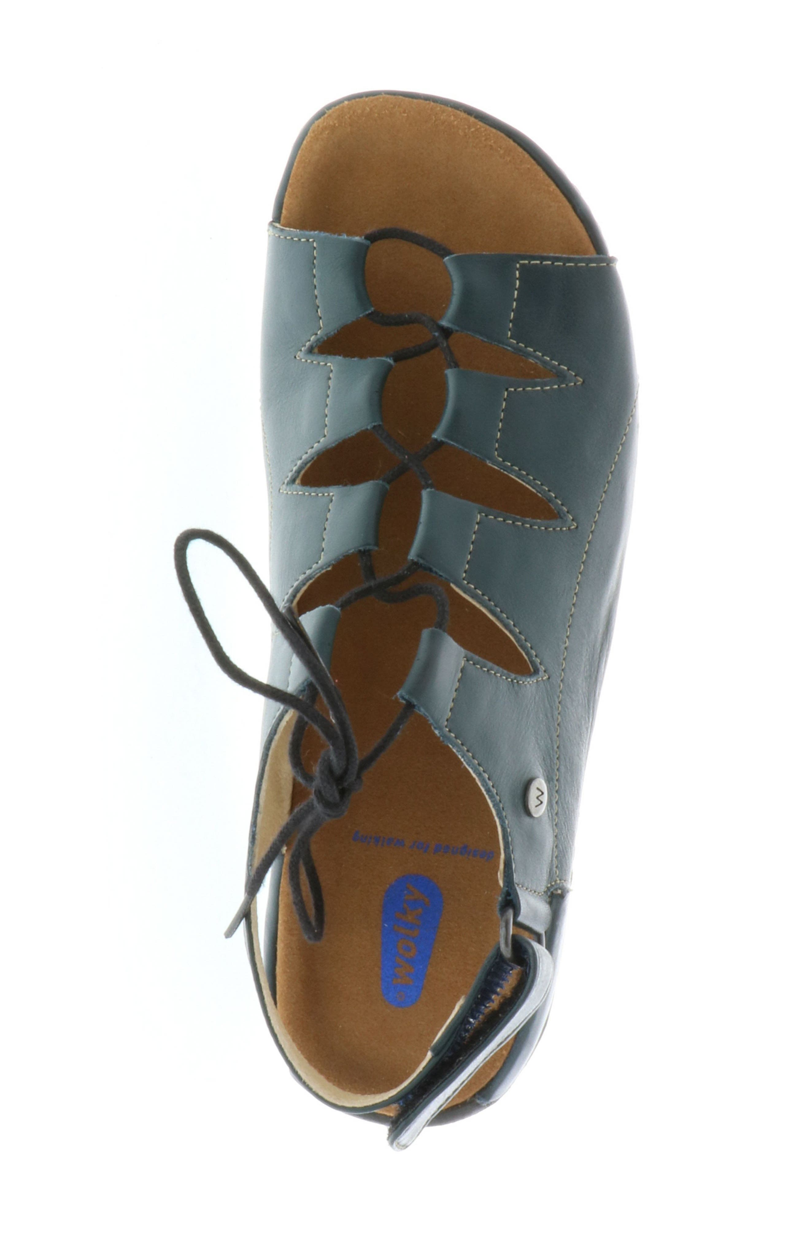 Kite Lace-Up Sandal,                             Alternate thumbnail 4, color,                             Navy Leather