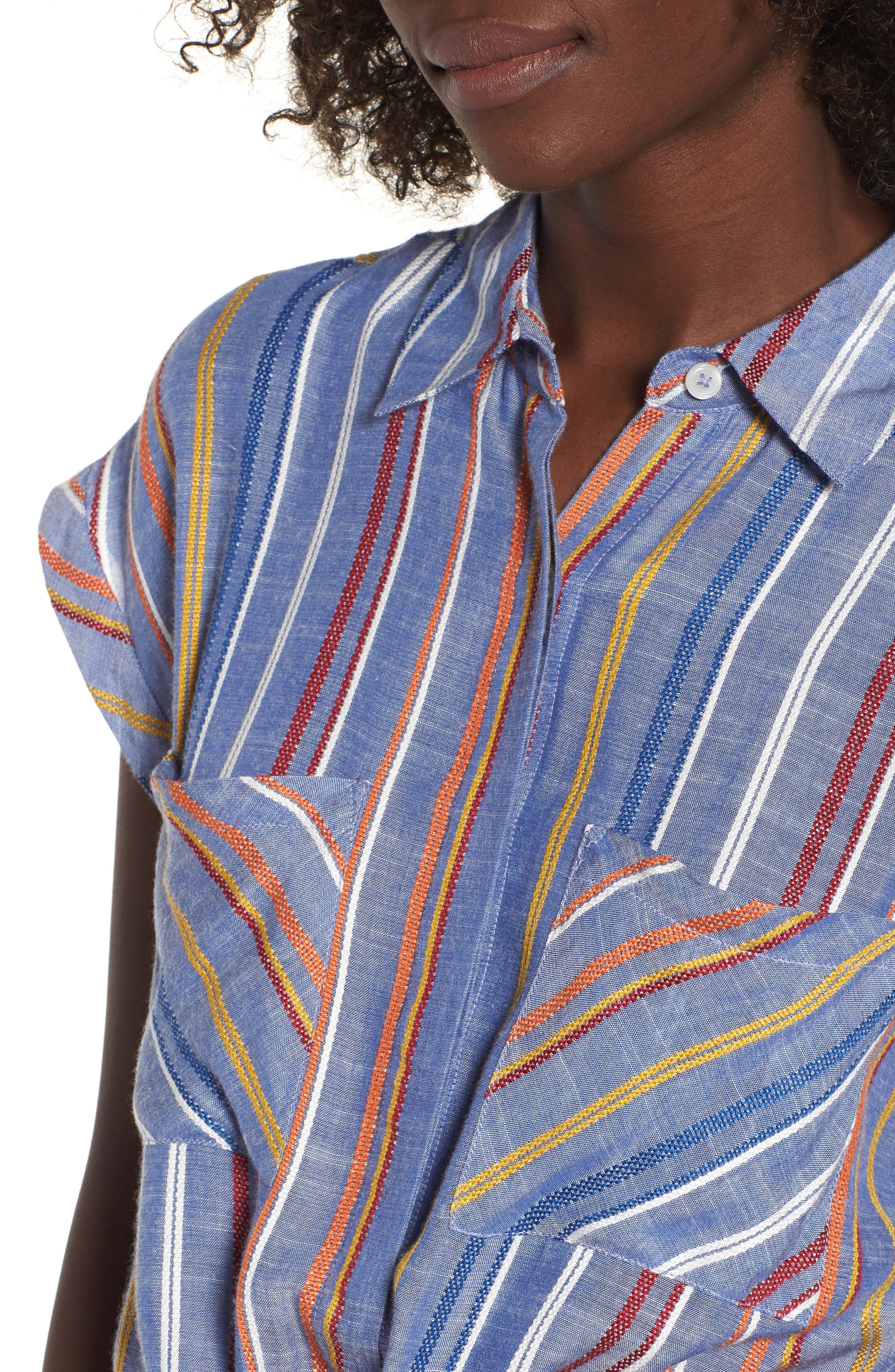Stripe Tie Front Shirt,                             Alternate thumbnail 3, color,                             Navy Peacoat Fiesta Stripe