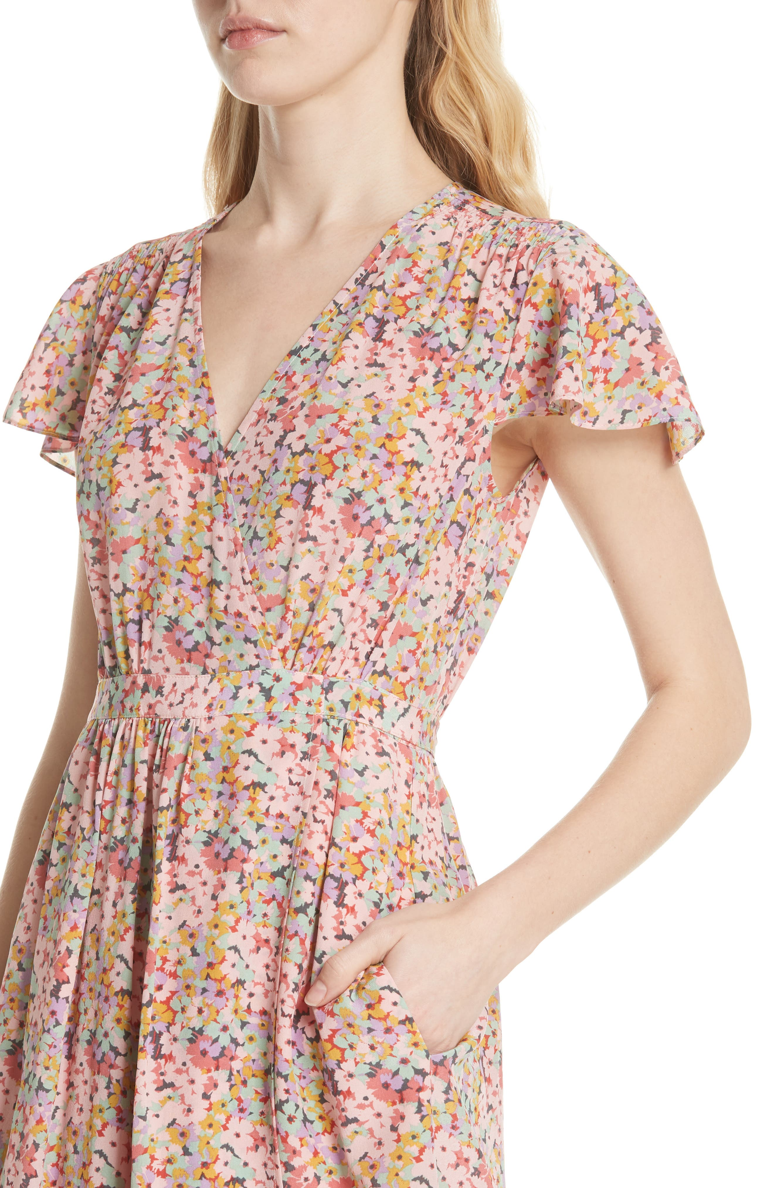 Margo Faux Wrap Silk Dress,                             Alternate thumbnail 4, color,                             Multi