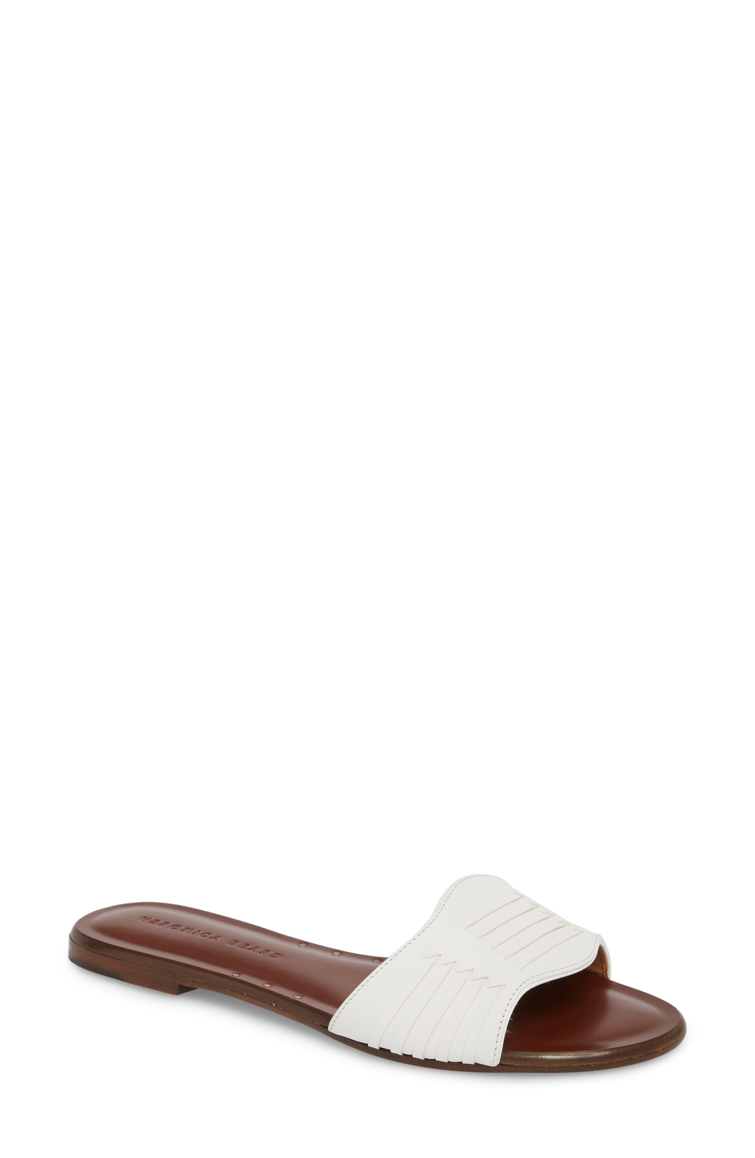 Faven Woven Slide Sandal,                             Main thumbnail 1, color,                             White