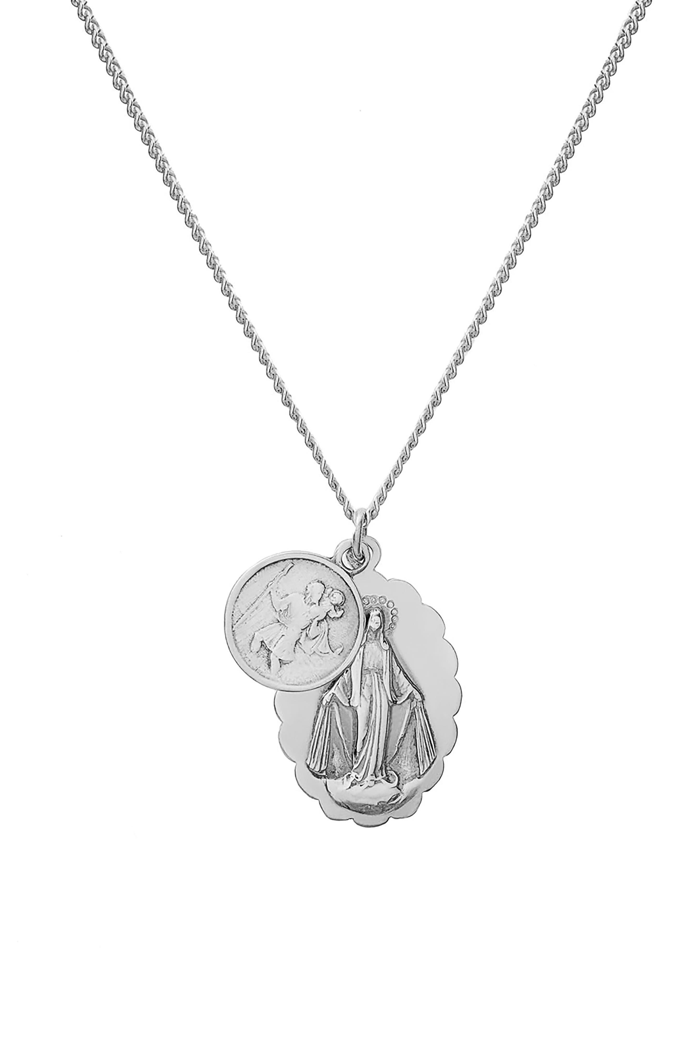 Mini Saints Pendant Duo Necklace,                             Main thumbnail 1, color,                             Polished Sterling Silver
