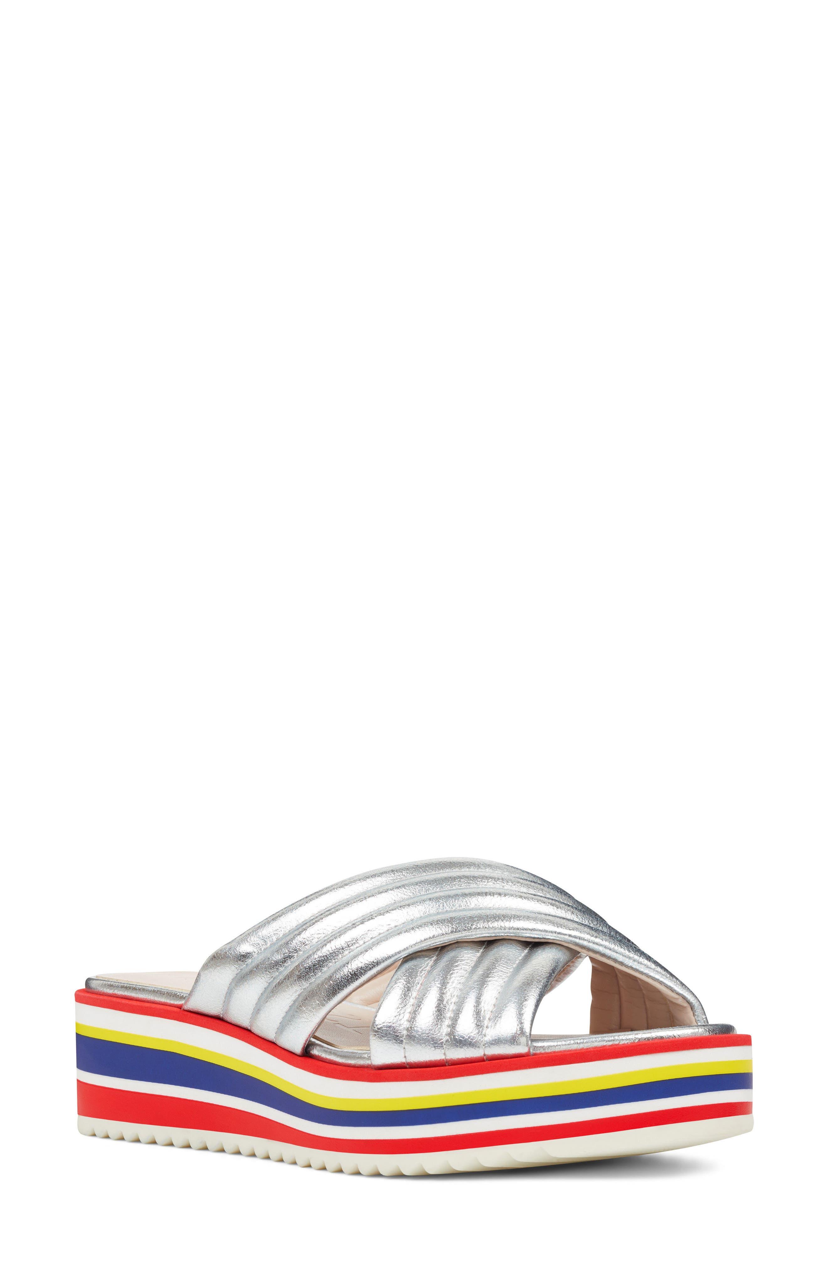 Zonita Platform Slide Sandal,                         Main,                         color, Silver Faux Leather