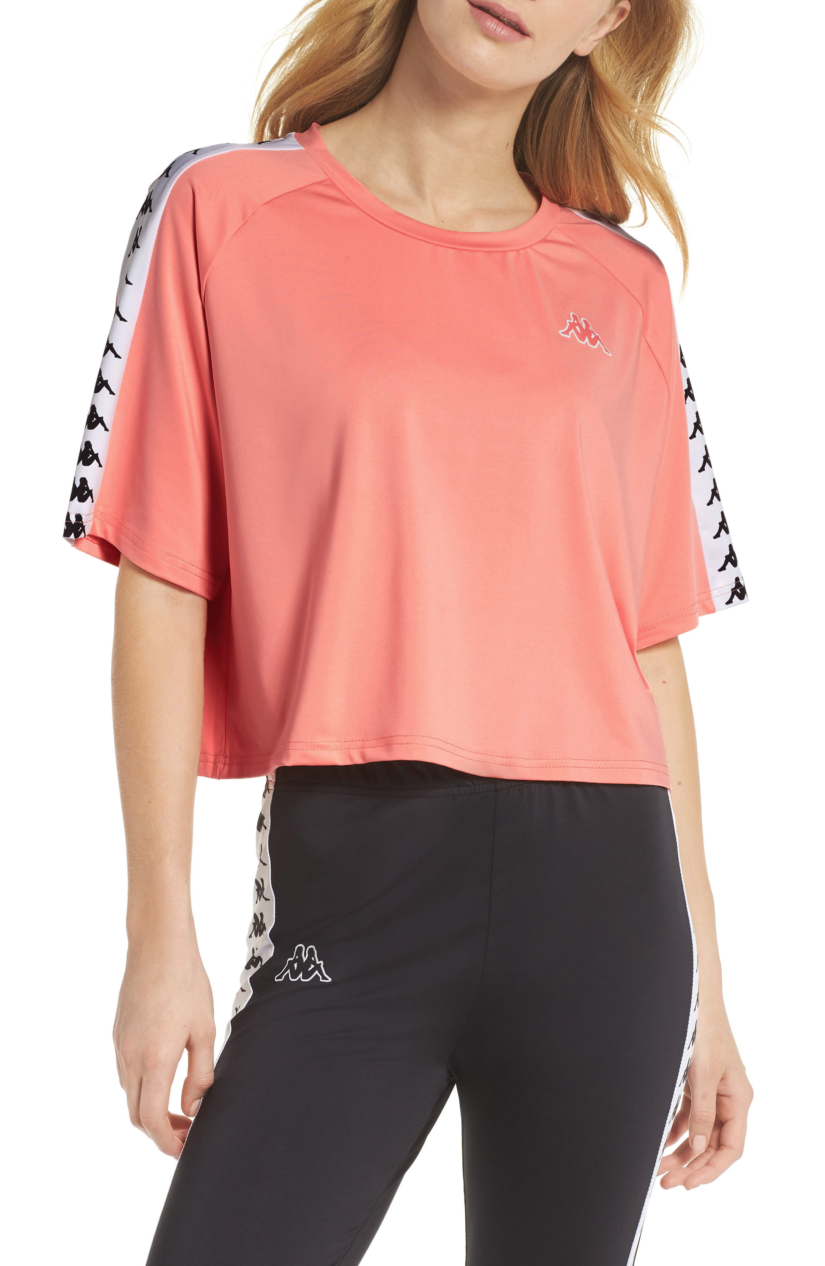 Banda Loose Tee,                             Main thumbnail 1, color,                             Pink Dk. Peach/ White