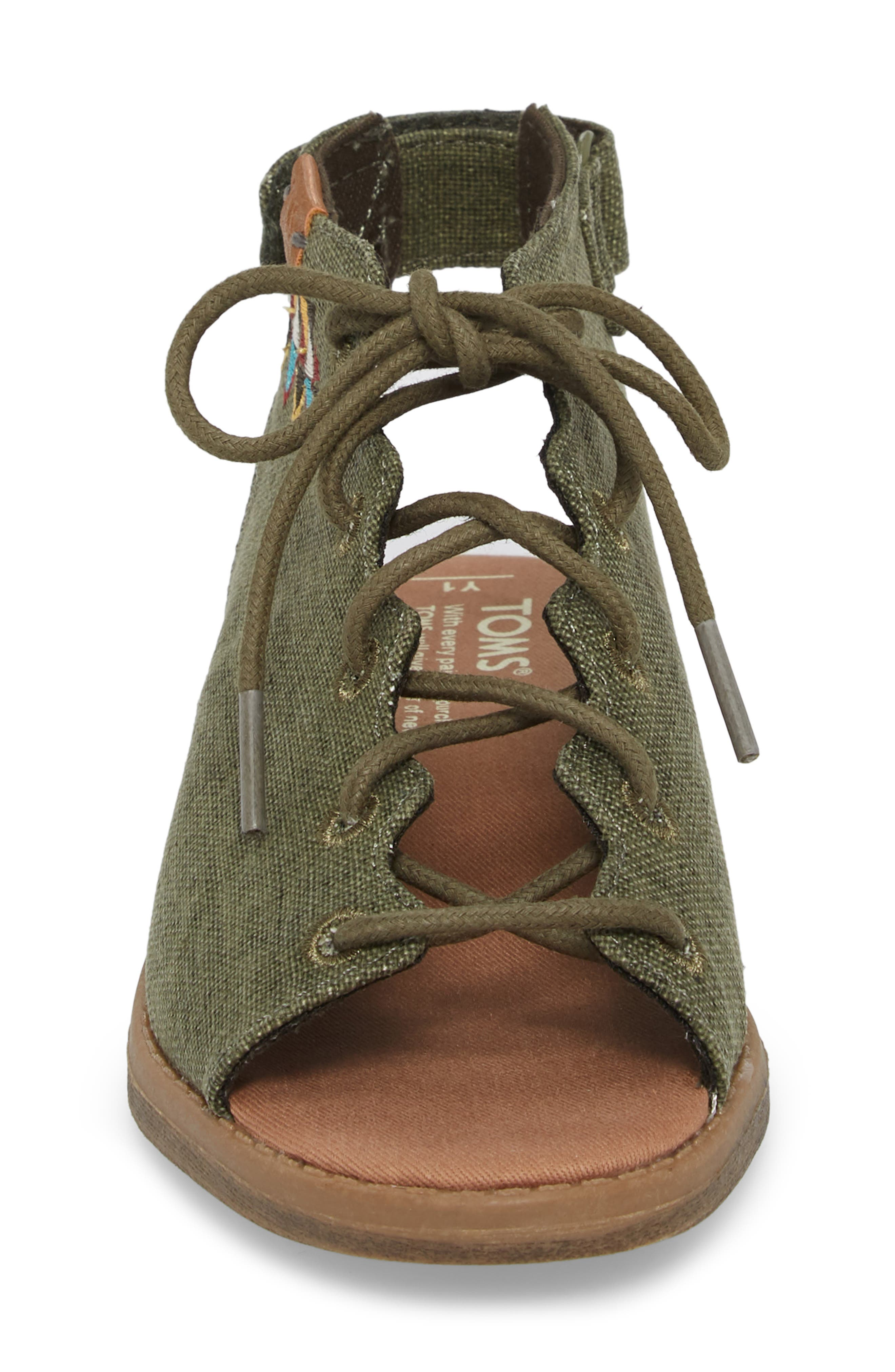 Uma Sandal,                             Alternate thumbnail 4, color,                             Cypress Coated Linen
