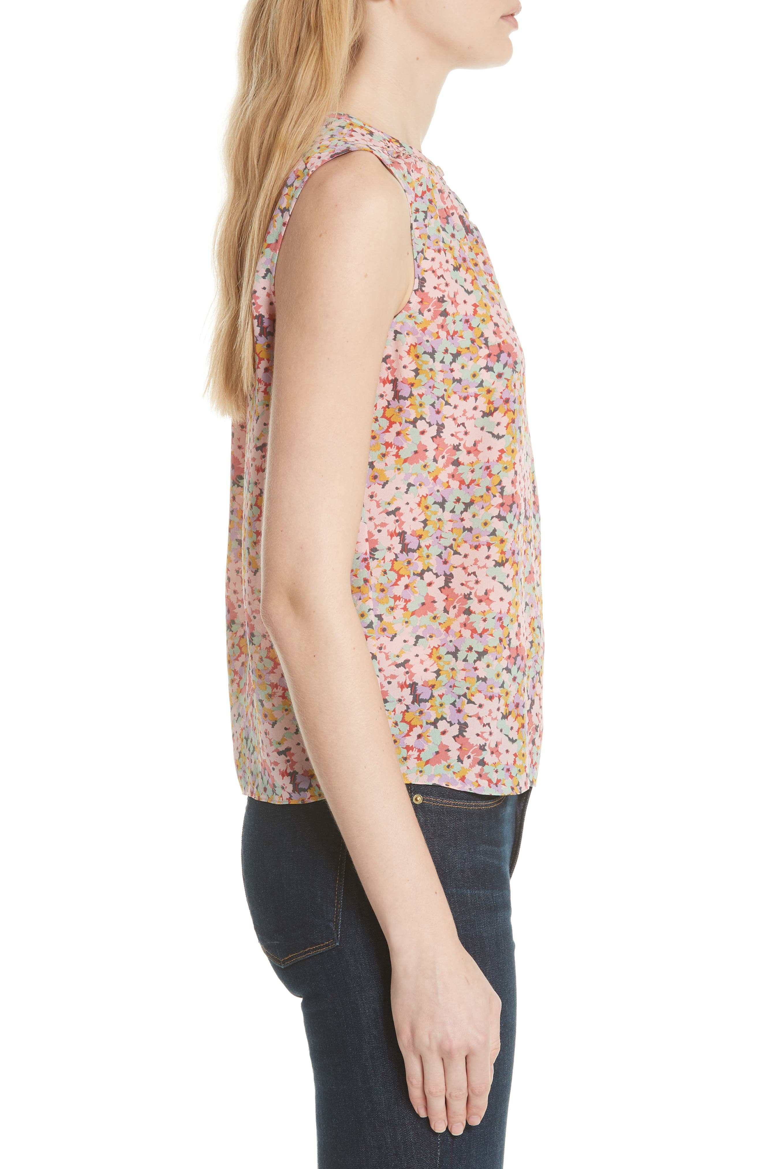 Margo Floral Sleeveless Silk Top,                             Alternate thumbnail 3, color,                             Multi
