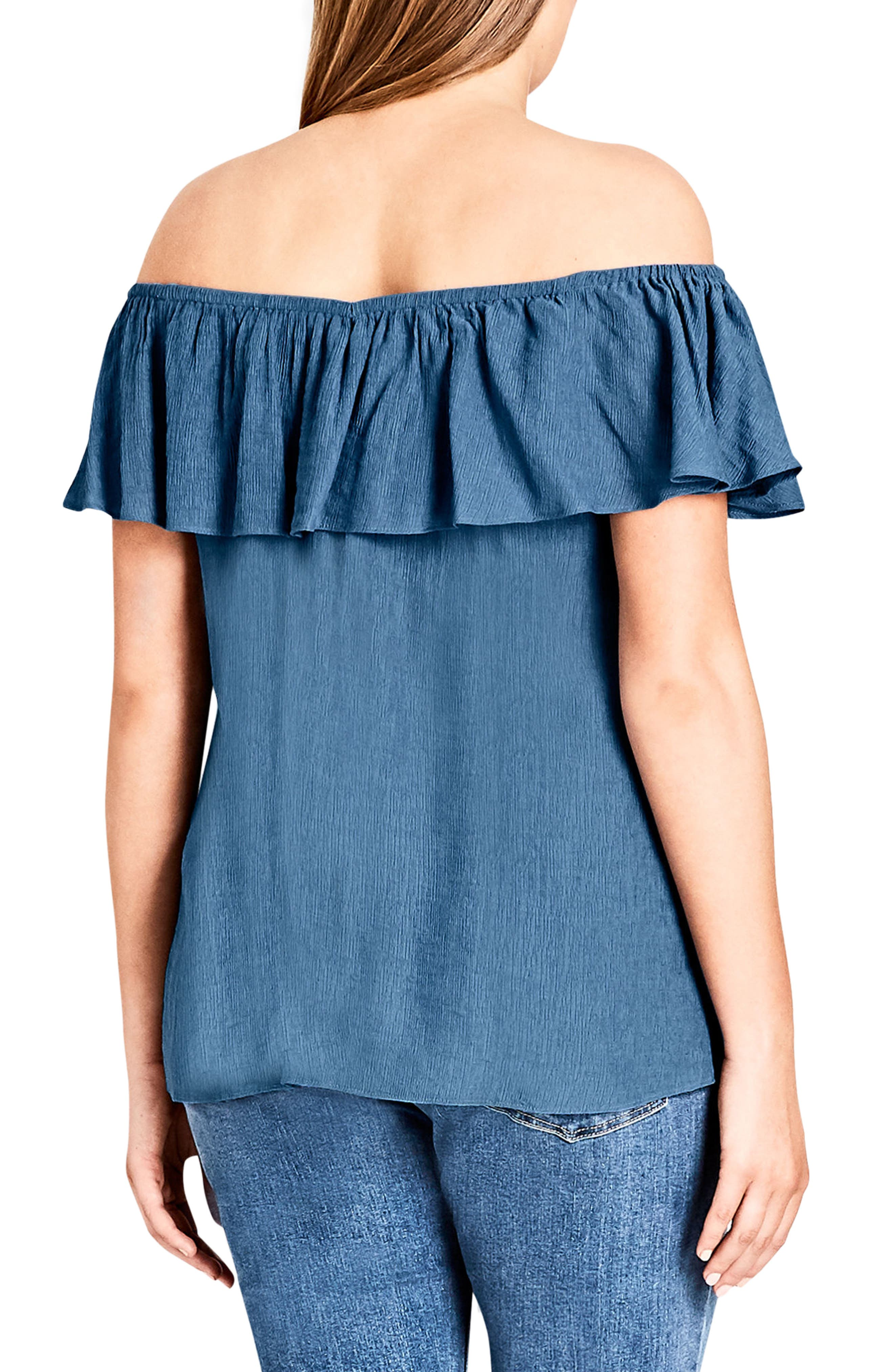 Cute Denim Top,                             Alternate thumbnail 2, color,                             Chambray