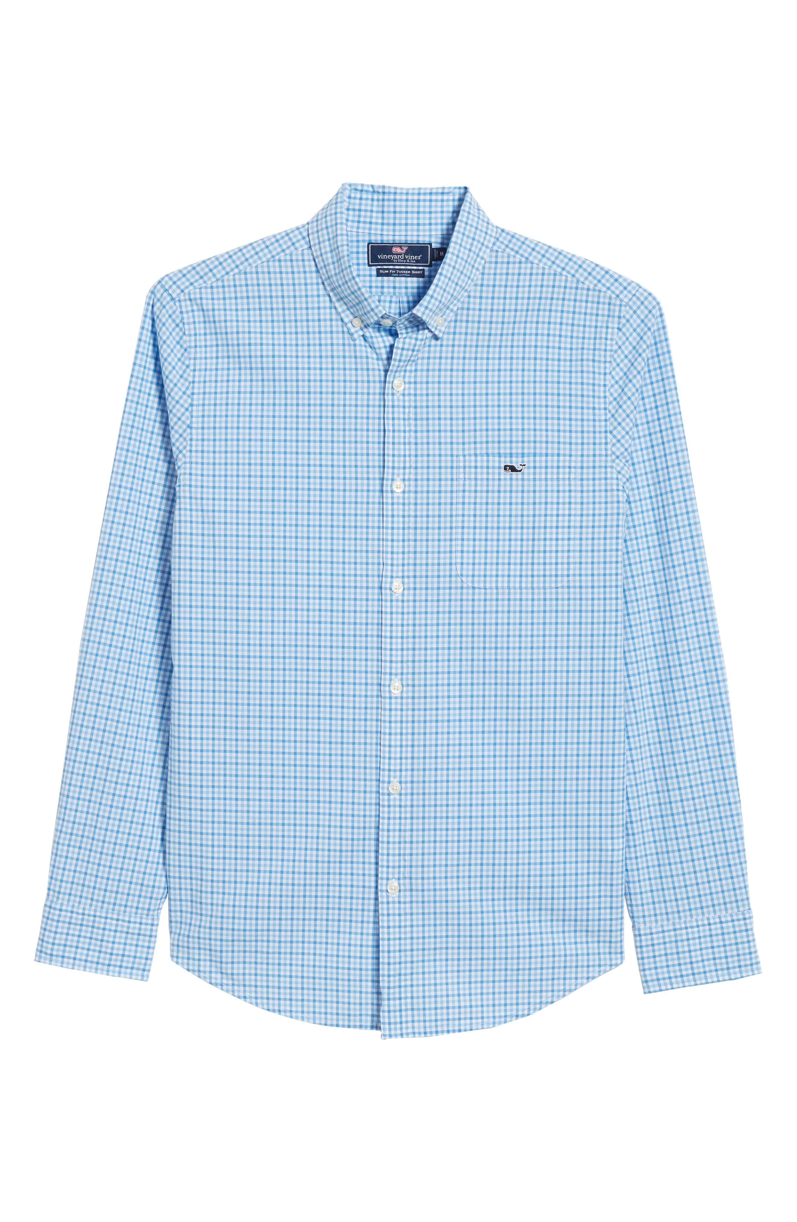 Tipsy Turtle Check Slim Fit Sport Shirt,                             Alternate thumbnail 6, color,                             Harbor Cay