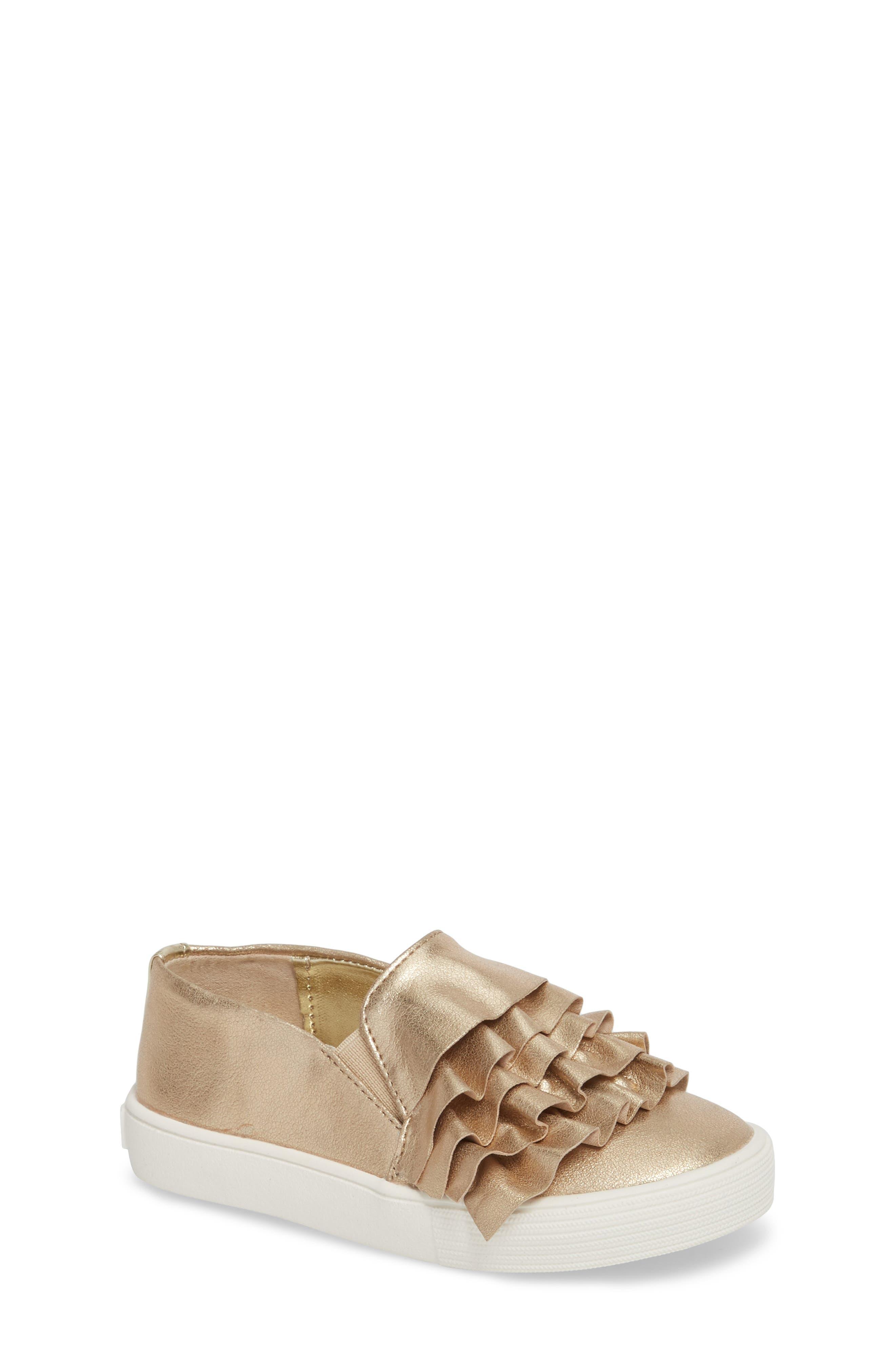 Shimmery Kam Ruffle Slip-On Sneaker,                             Main thumbnail 1, color,                             Gold