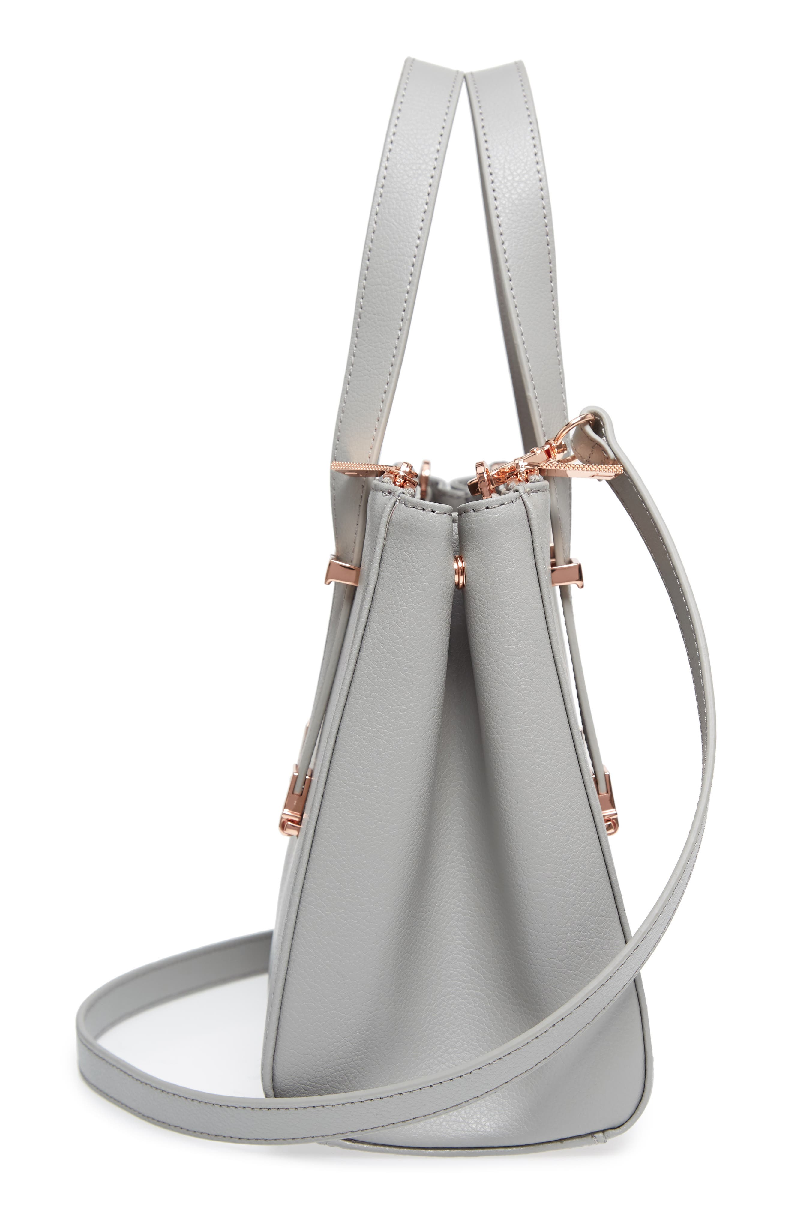 Audreyy Small Adjustable Handle Leather Shopper,                             Alternate thumbnail 5, color,                             Mid Grey