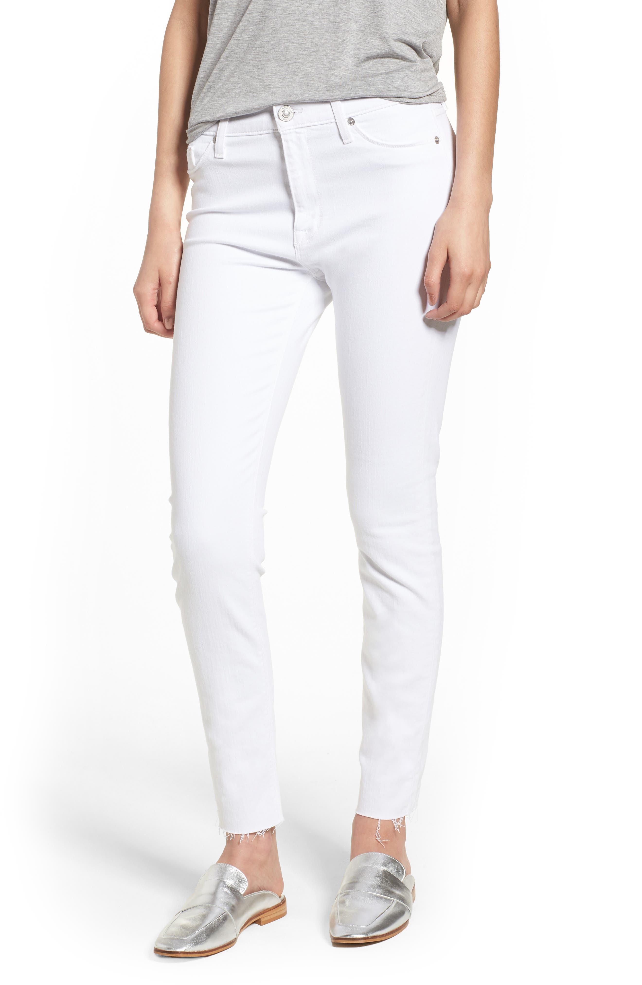 Hudson Jeans Barbara High Waist Raw Hem Ankle Skinny Jeans (Optical White)