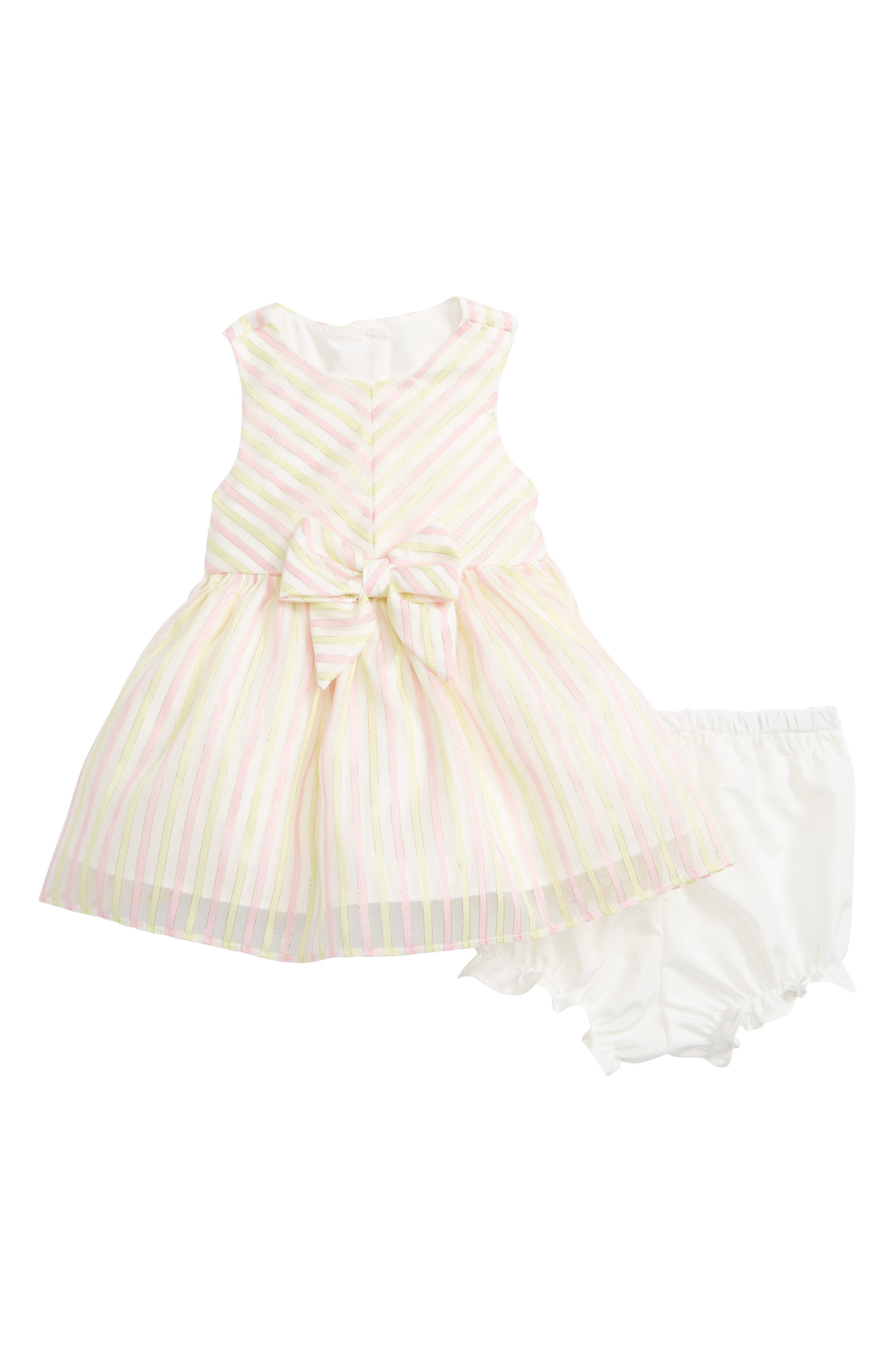 Stripe Dress,                             Main thumbnail 1, color,                             Pink/ Yellow