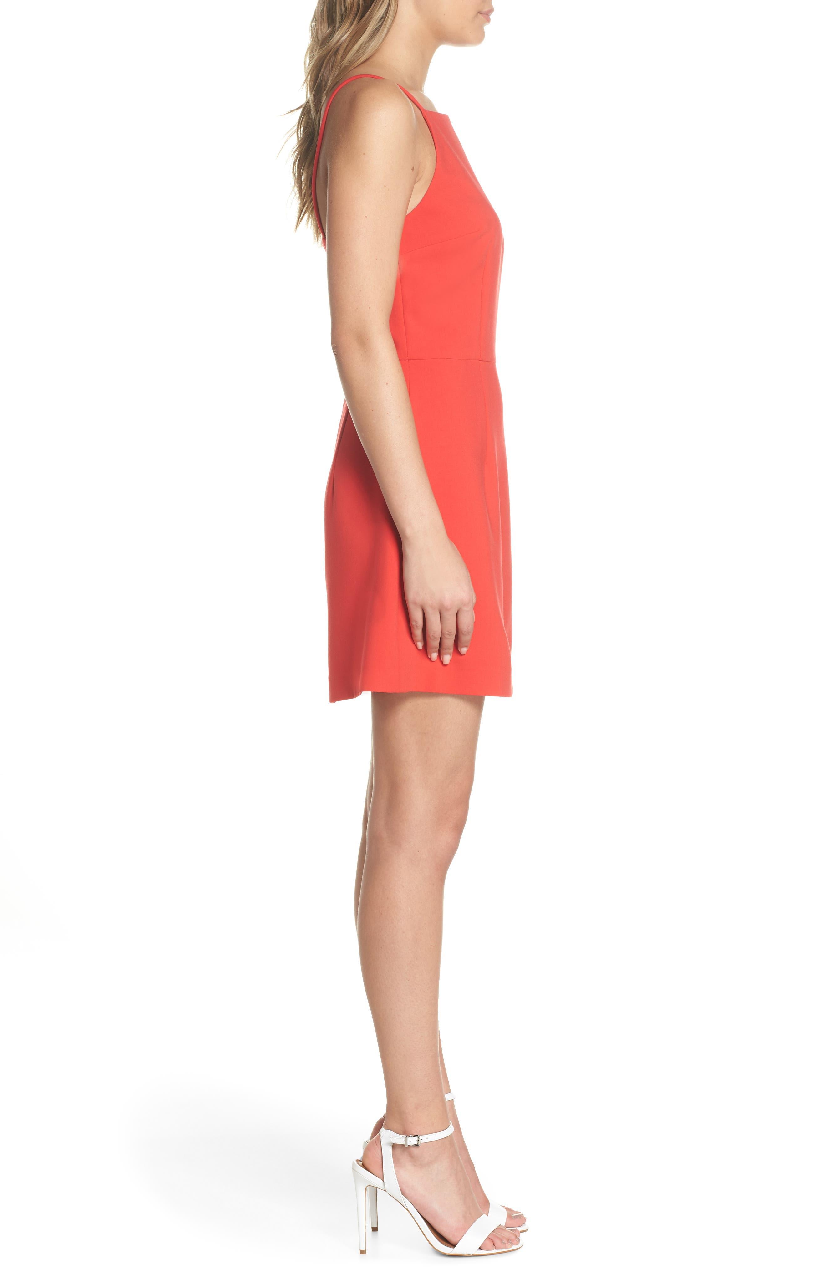 Whisper Light Sheath Dress,                             Alternate thumbnail 3, color,                             Shanghai Red