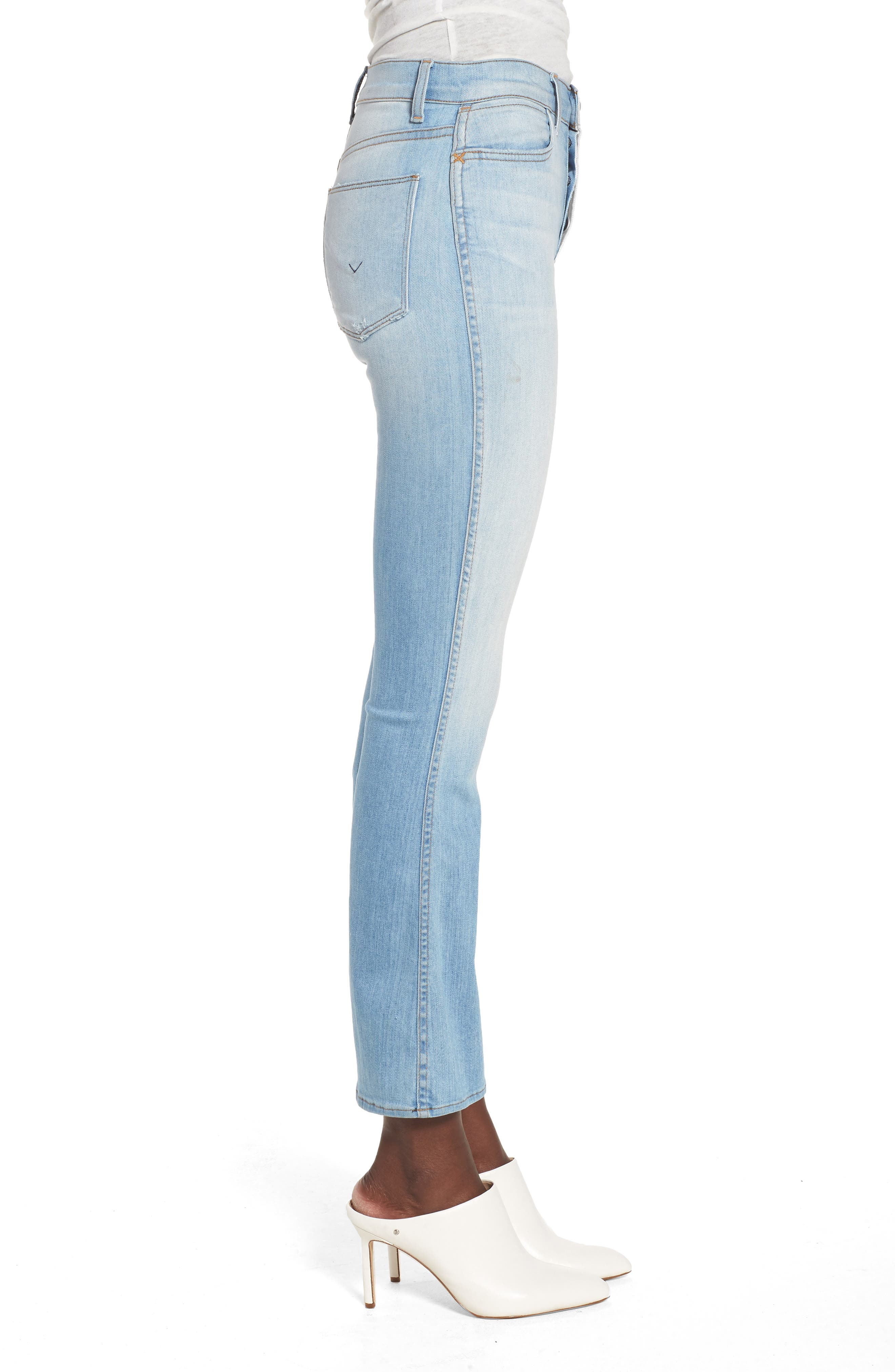 Holly High Waist Crop Flare Jeans,                             Alternate thumbnail 3, color,                             Closer