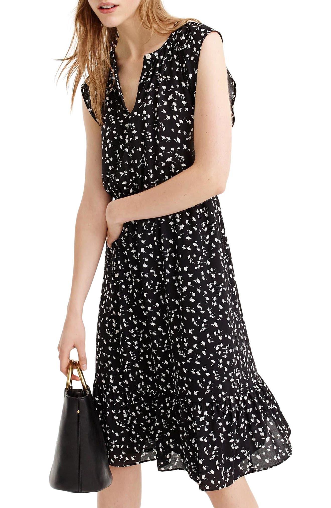 Daisy Floral Cap Sleeve Midi Dress,                             Main thumbnail 1, color,                             Black Ivory