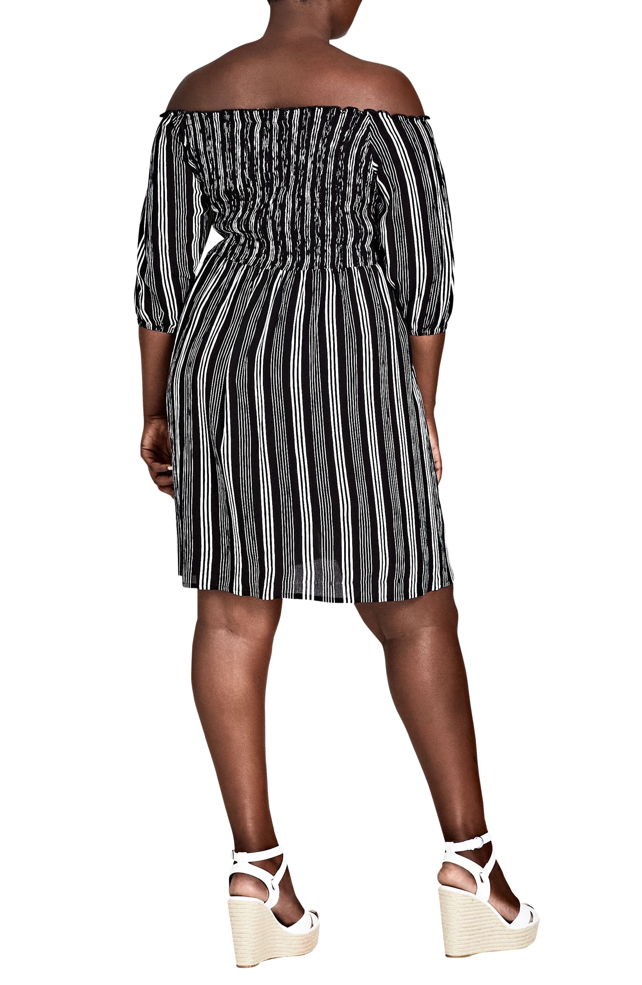 Stripe Play Off the Shoulder Dress,                             Alternate thumbnail 2, color,                             Stripe Play