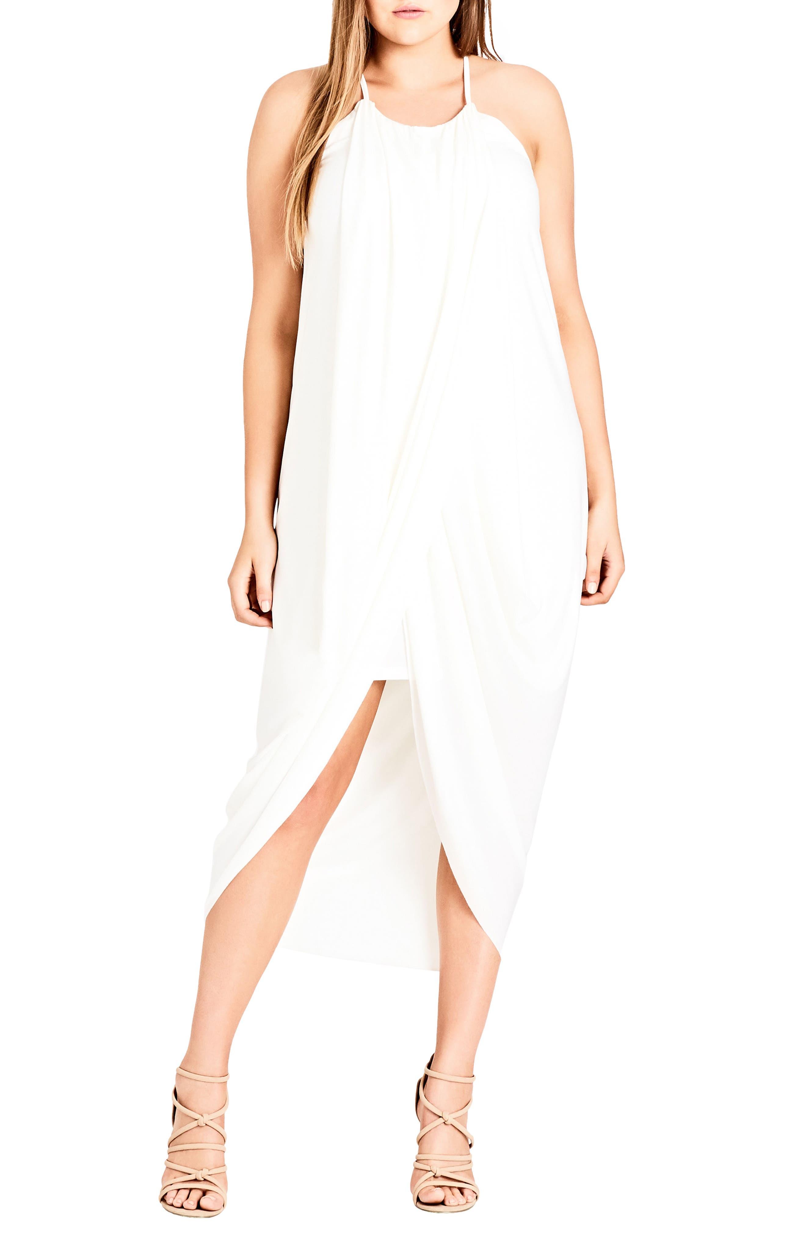 'Slinky Wrap' Maxi Dress,                             Main thumbnail 1, color,                             Ivory