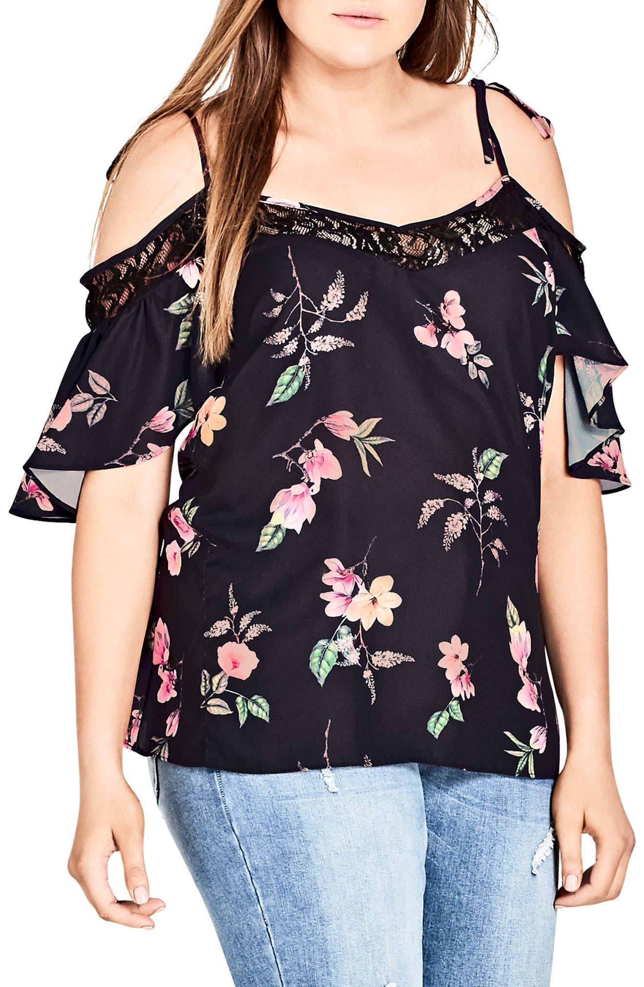 Lace Trim Floral Off the Shoulder Top,                             Main thumbnail 1, color,                             Captive Floral