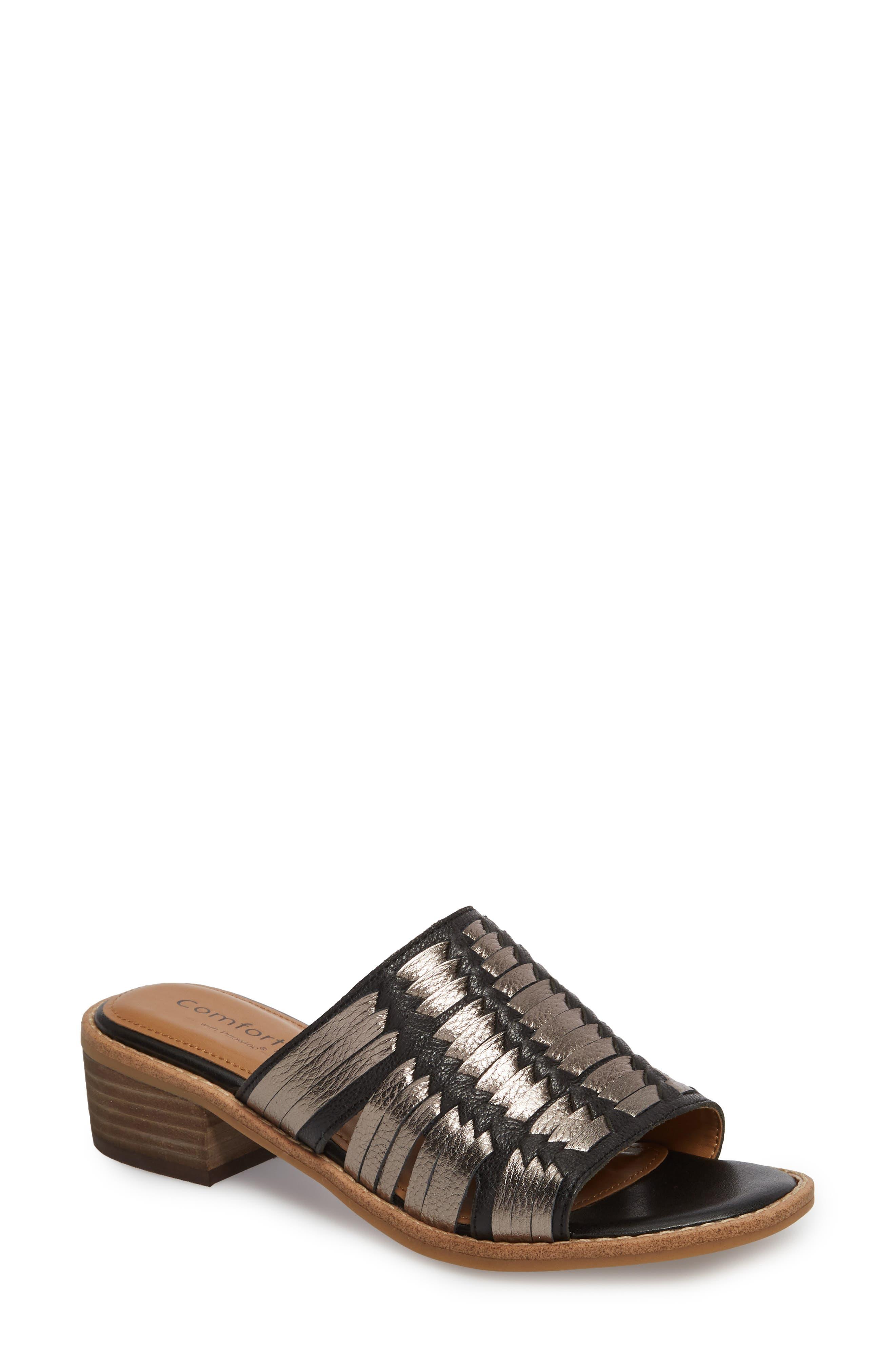 Brileigh Slide Sandal,                             Main thumbnail 1, color,                             Black Leather